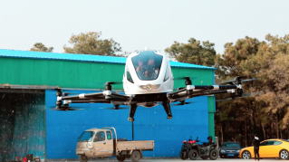 The Ehang 184 on flying tests.