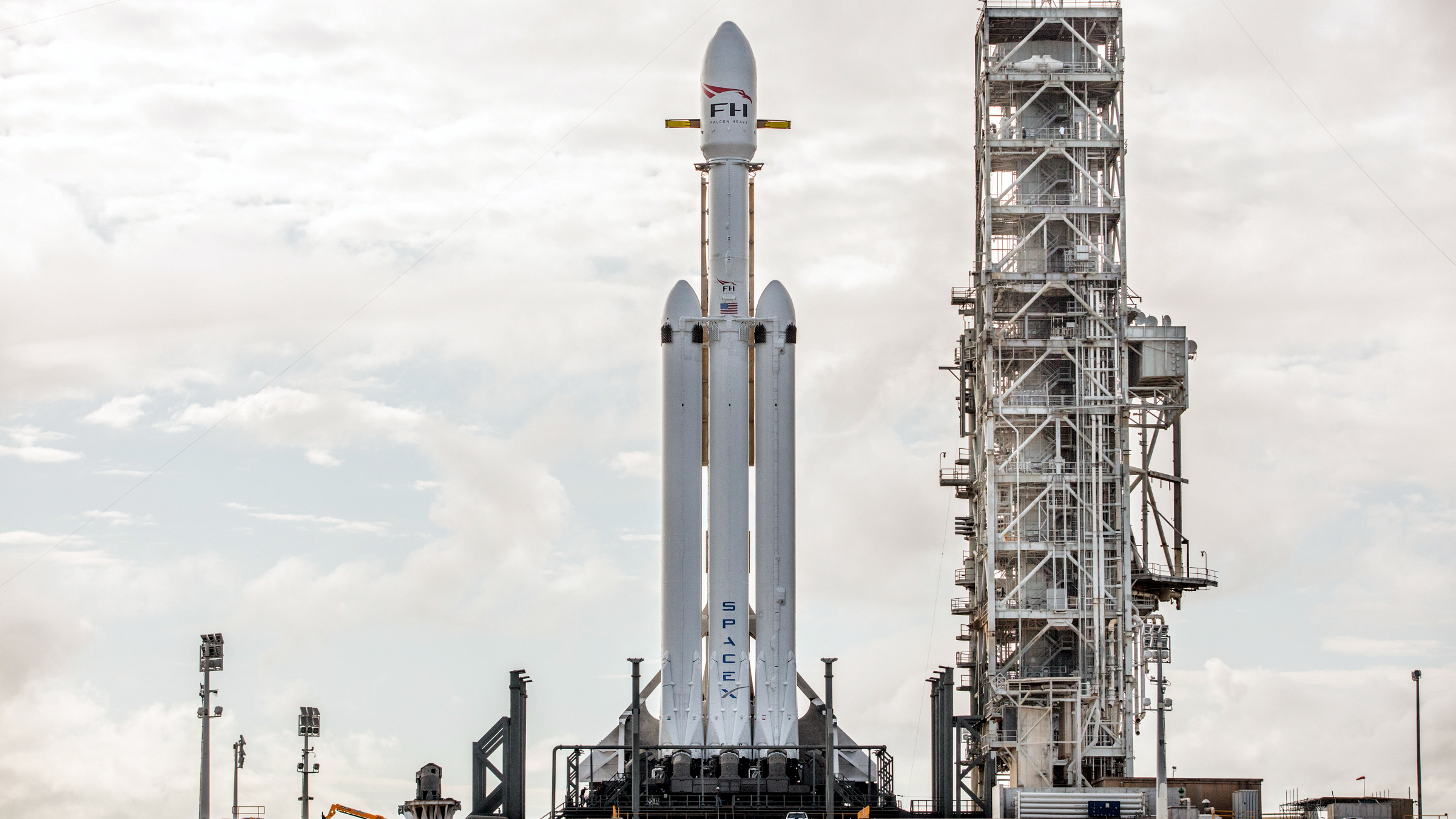 SpaceX's Falcon Heavy rocket on the launch pad at Kennedy Space Center.