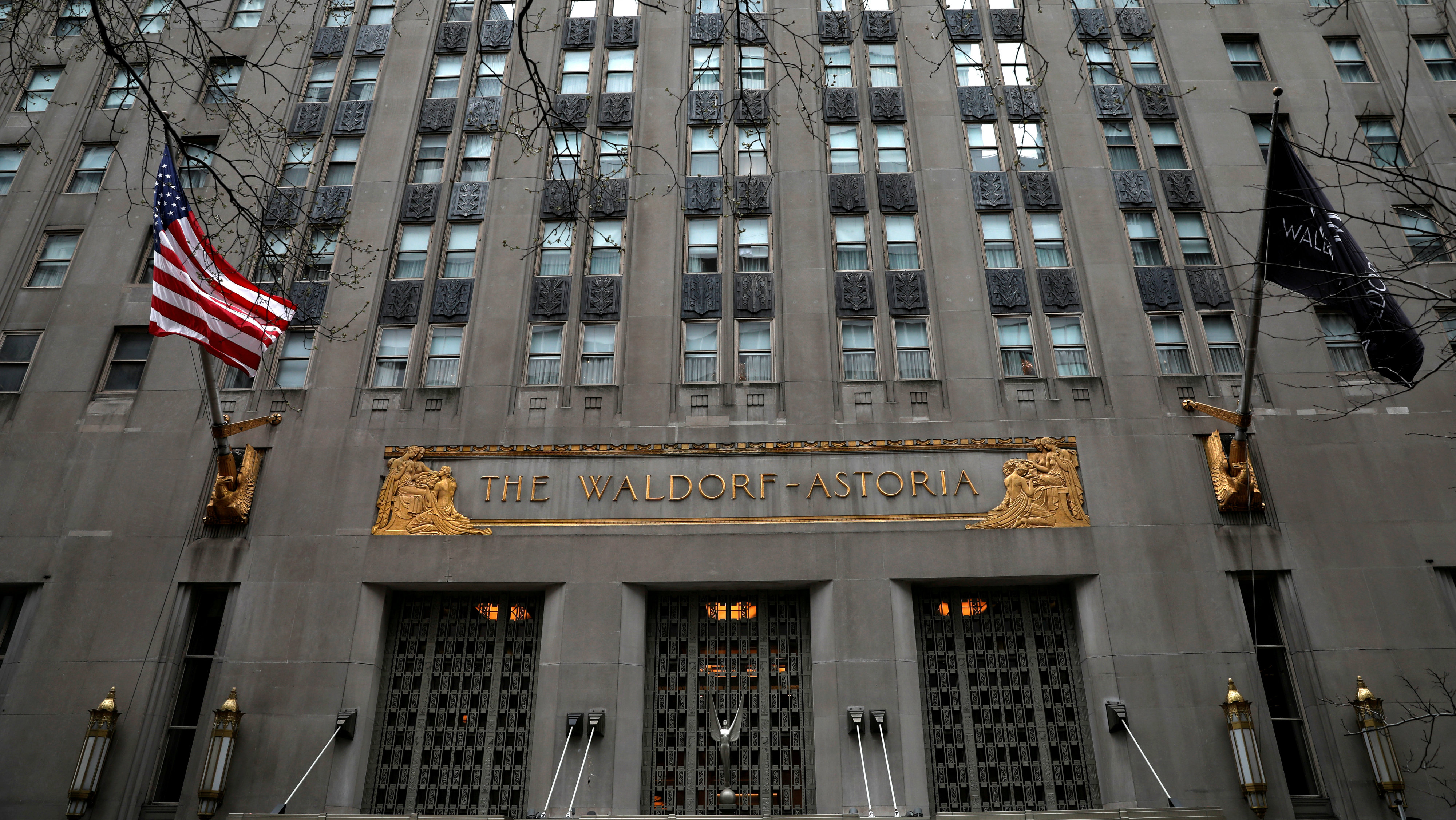 An exterior view of the world famous Waldorf Astoria Hotel in midtown Manhattan in New York City
