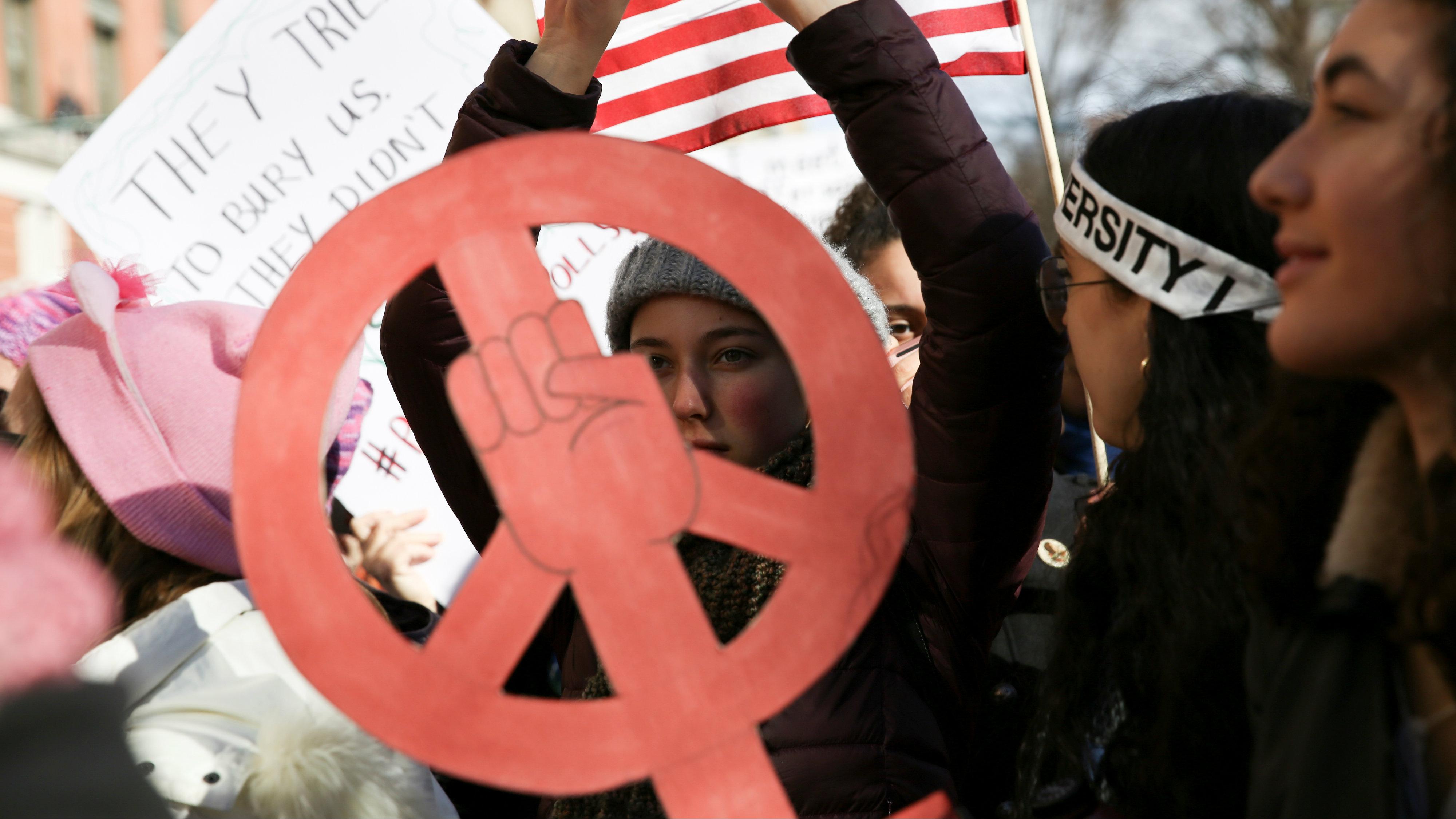 Demonstrators take part in the Women's March in Manhattan in New York