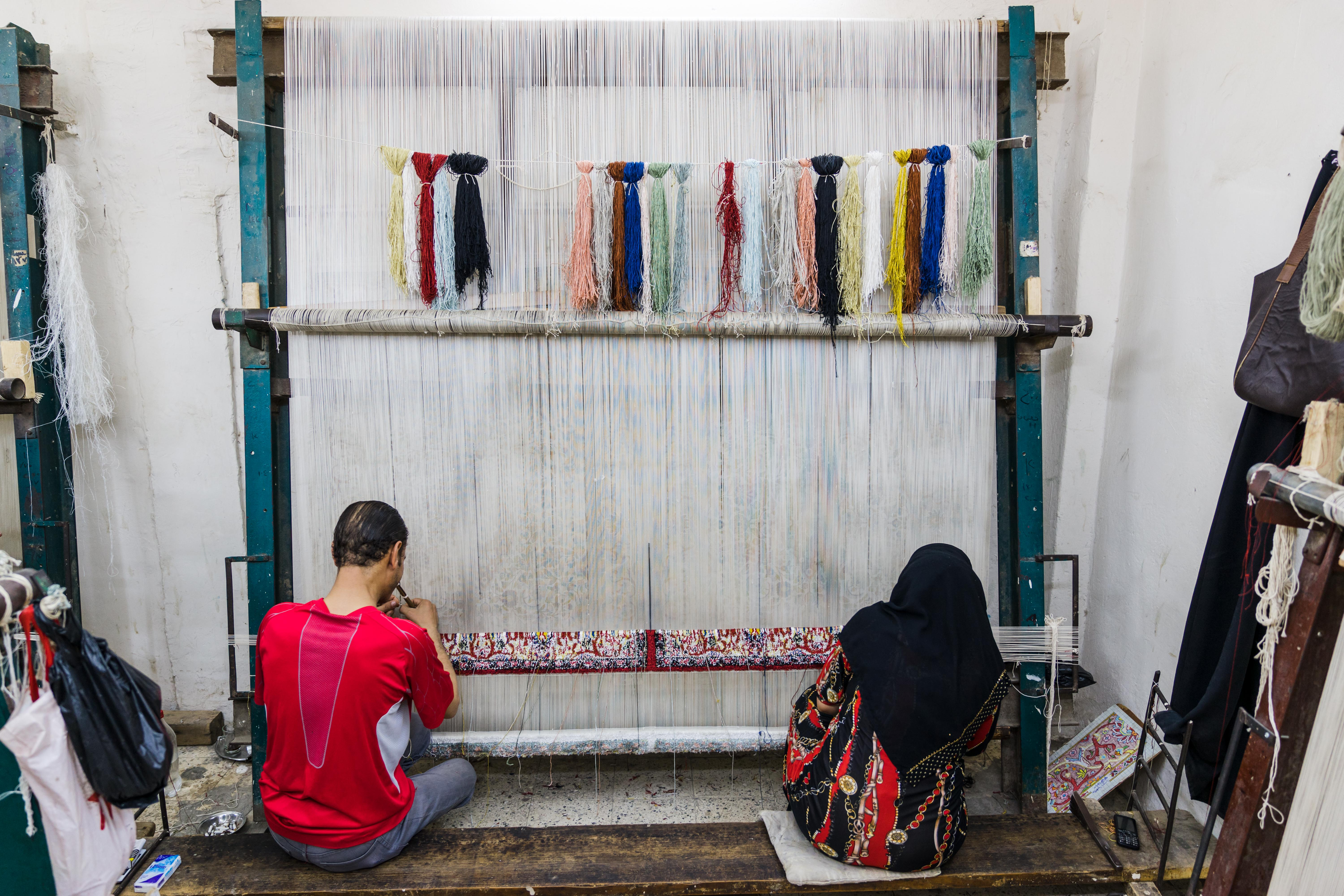 It takes two people working eight hours a day, six days a week, six months to produce a carpet this size.