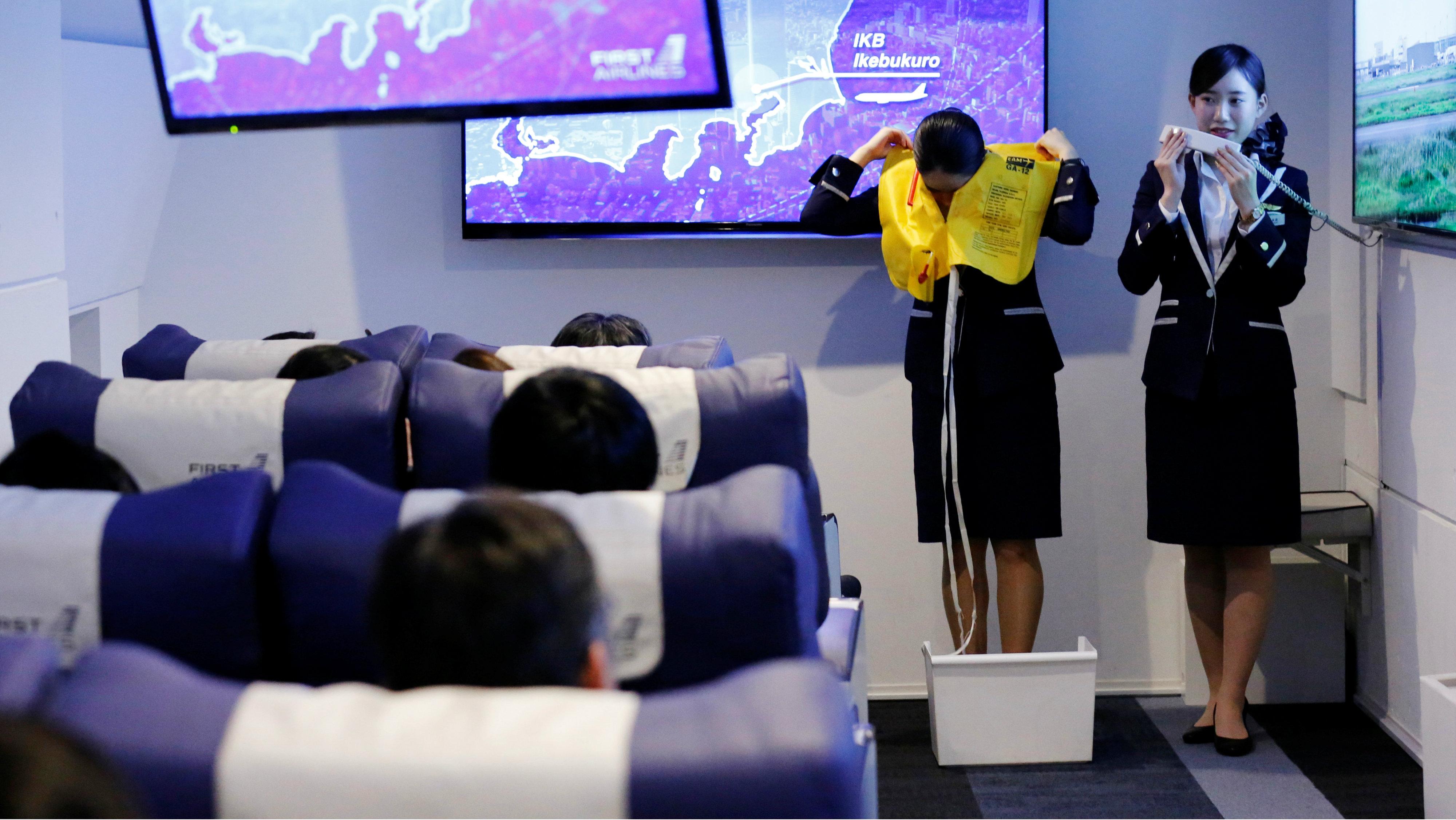 Air hostess demonstration