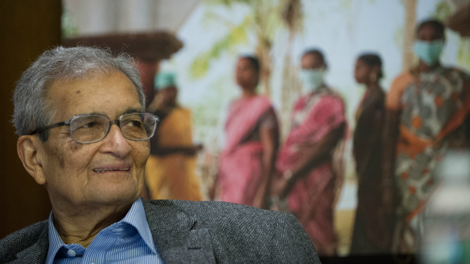 Nobel laureate Dr. Amartya Sen, Professor of Economics and Philosophy at Harvard University, listens to a colleague's remarks during the launch of the FXBVillage Toolkit and Planning Guide on Monday, May 4, 2015, in Cambridge, Mass. The three-year FXBVillage model has helped lift more than 80,000 people from extreme poverty to self-sufficiency and is now available to the public as an open-source toolkit at www.FXB.org/toolkit.