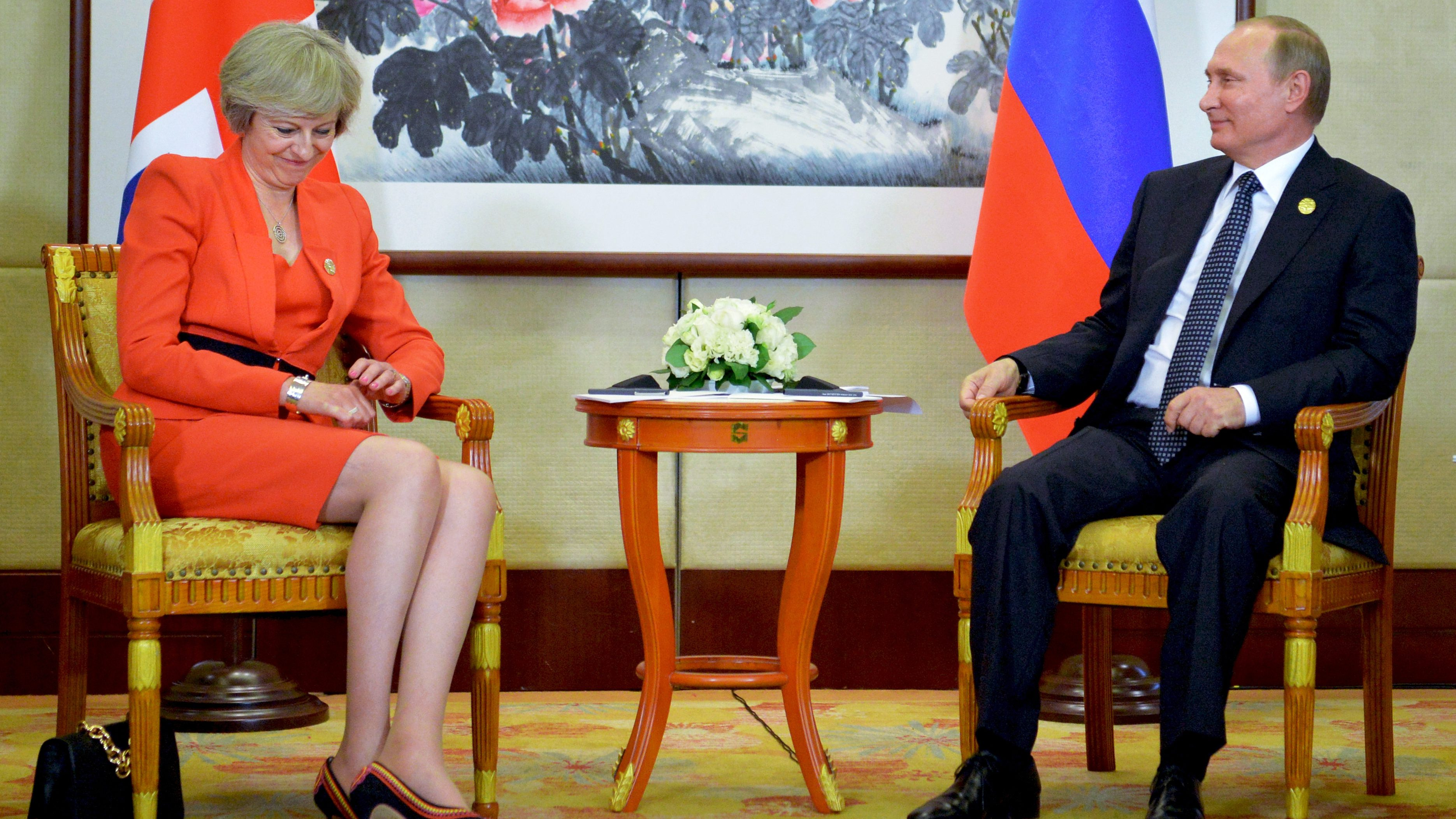 Russian President Vladimir Putin, right, listens to British Prime Minister Theresa May during a bilateral meeting in Hangzhou, China, Sunday, Sept. 4, 2016, ahead of the G20 Leaders Summit. (Alexei Druzhinin/Pool Photo via AP)