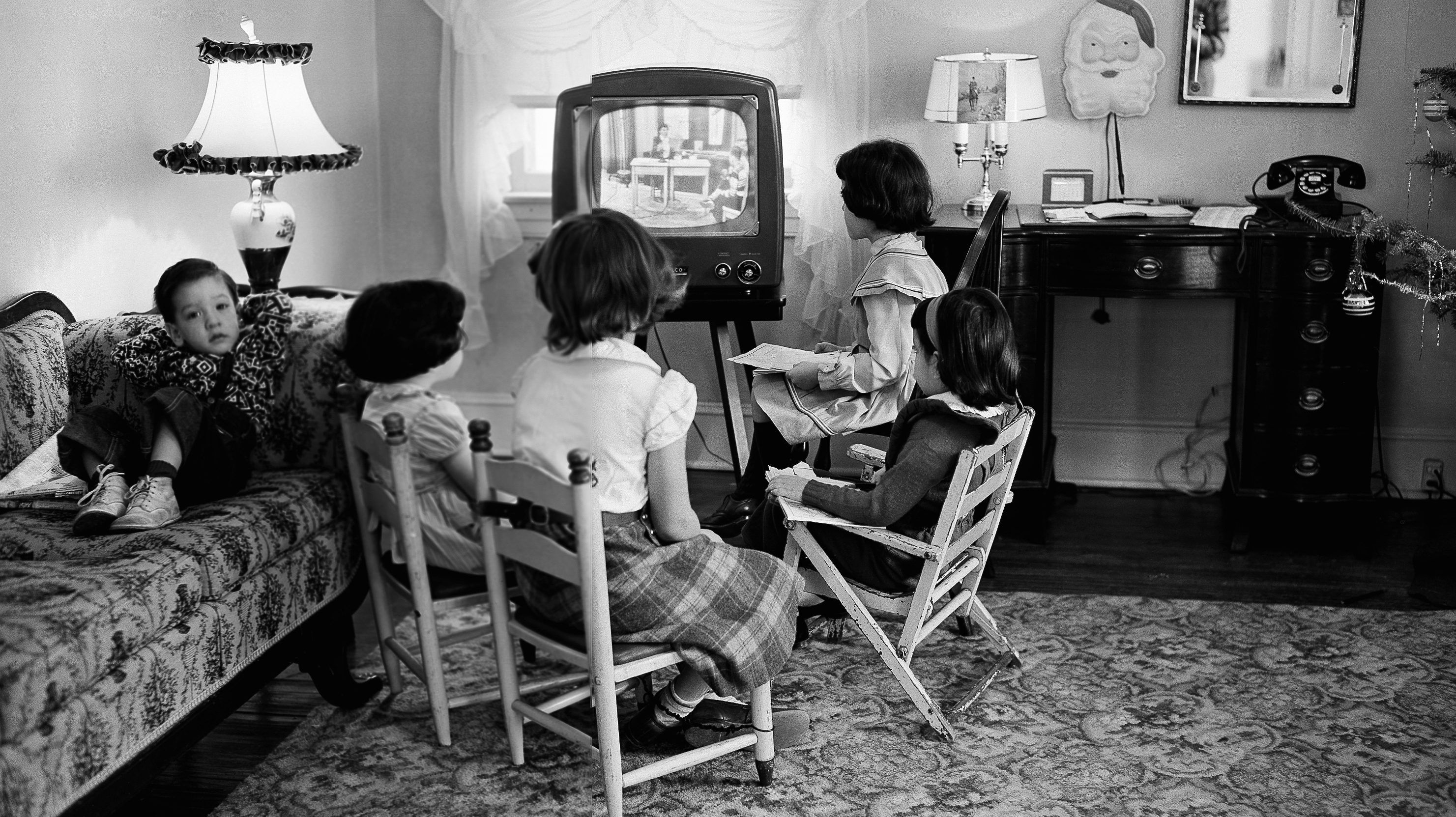 FILE - In this Jan. 6, 1953, file photo, four school children watch a teacher giving them a lesson via television at home in Baltimore, Md. TV was key to the world baby boomers were born into: a newly modernized world whose every problem (with the possible exception of the Cold War) seemed to promise an available solution. Polio would be cured! Man would go into space! Even African-Americans, oppressed for so long, had new reason for hope. TV chronicled this bracing wave of wonder and potential, and built upon it as an essential part of what distinguished boomers: They were pampered and privileged and ushered toward a sure-to-be-glorious future. (AP Photo, File)