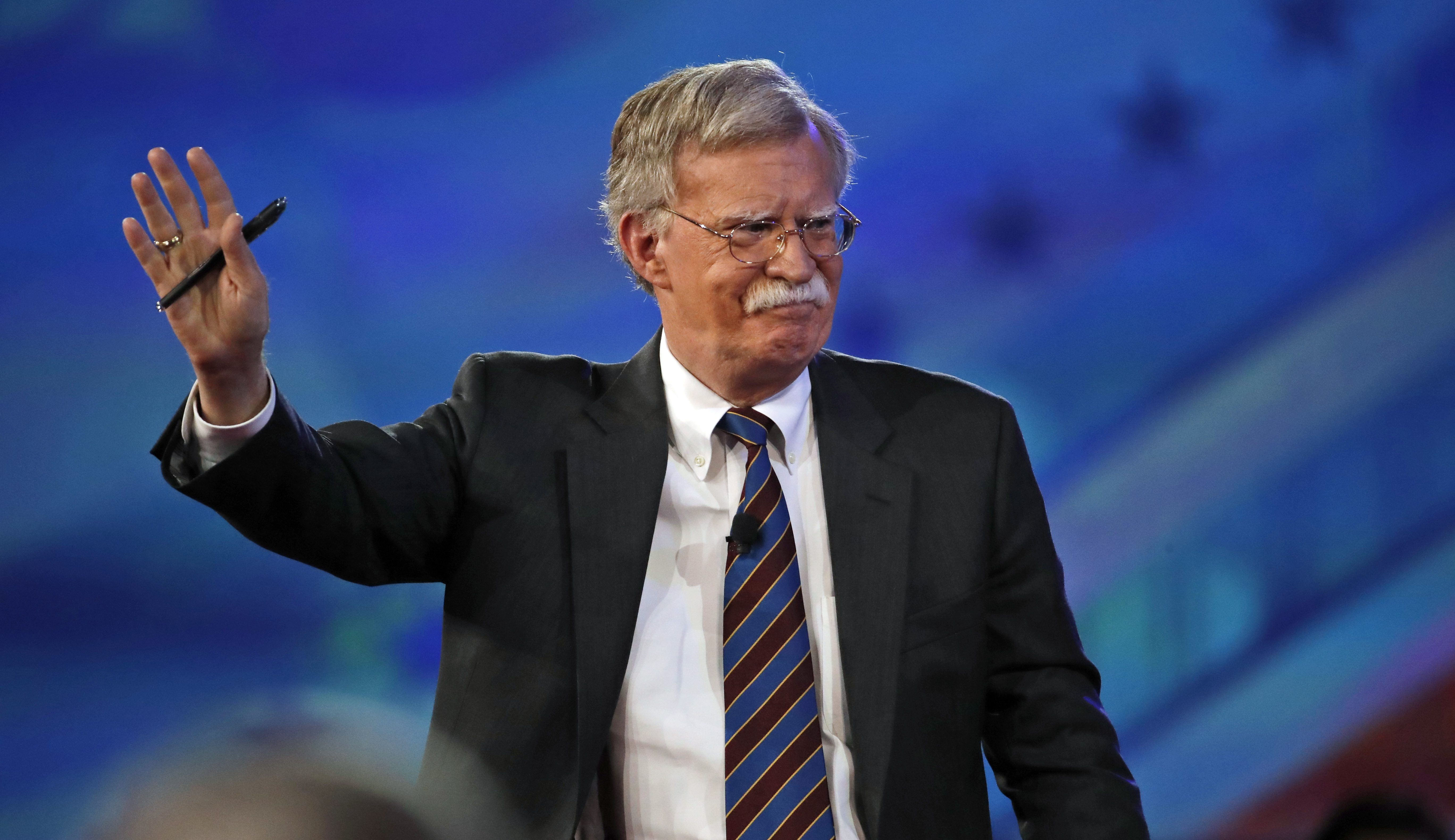 Former U.S. Ambassador to the UN John Bolton arrives to speak at the Conservative Political Action Conference (CPAC), Friday, Feb. 24, 2017, in Oxon Hill, Md.