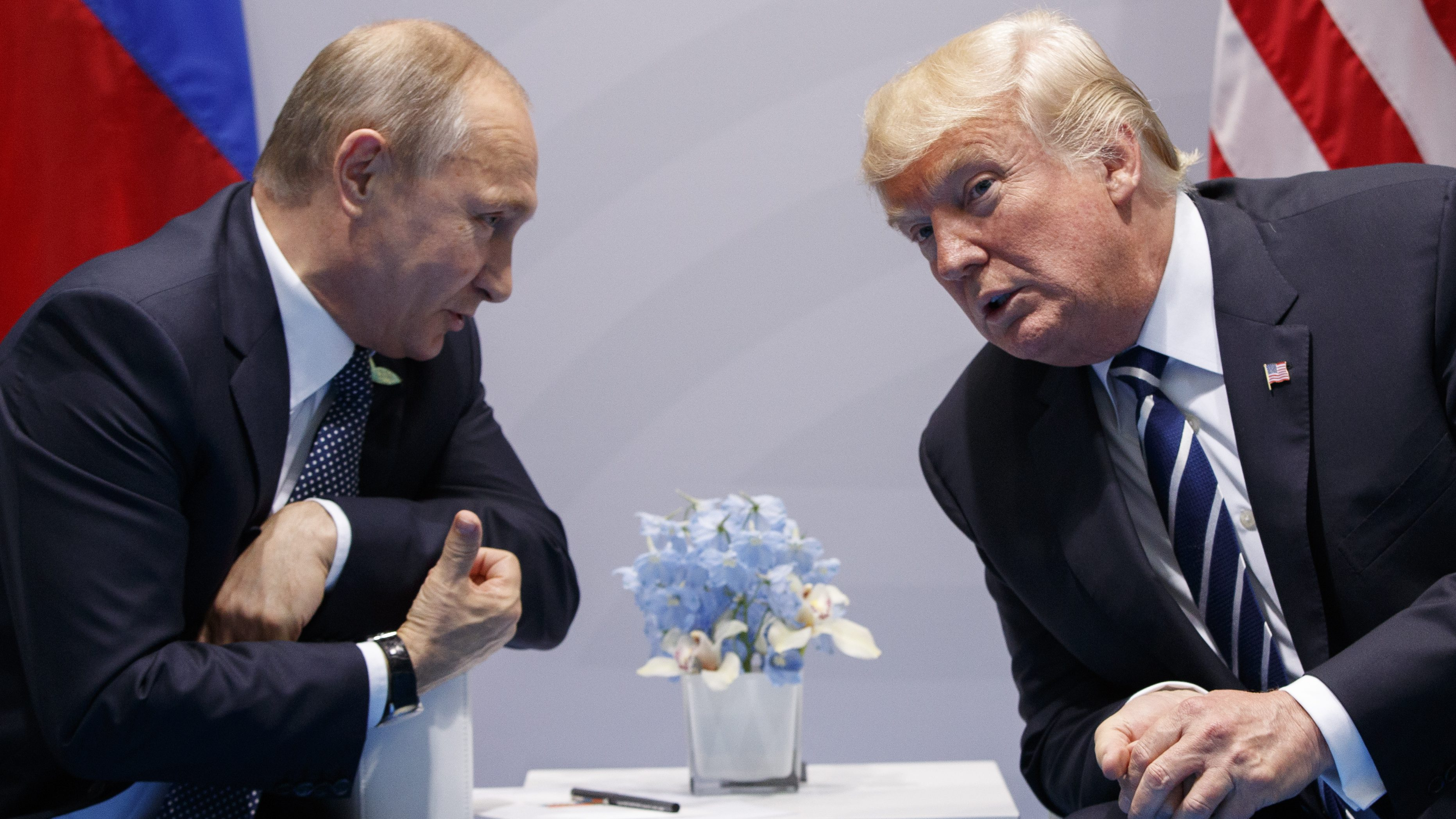 2017 AP YEAR END PHOTOS - U.S. President Donald Trump meets with Russian President Vladimir Putin at the G-20 Summit on July 7, 2017, in Hamburg. Trump and Putin met for more than two hours. (AP Photo/Evan Vucci)