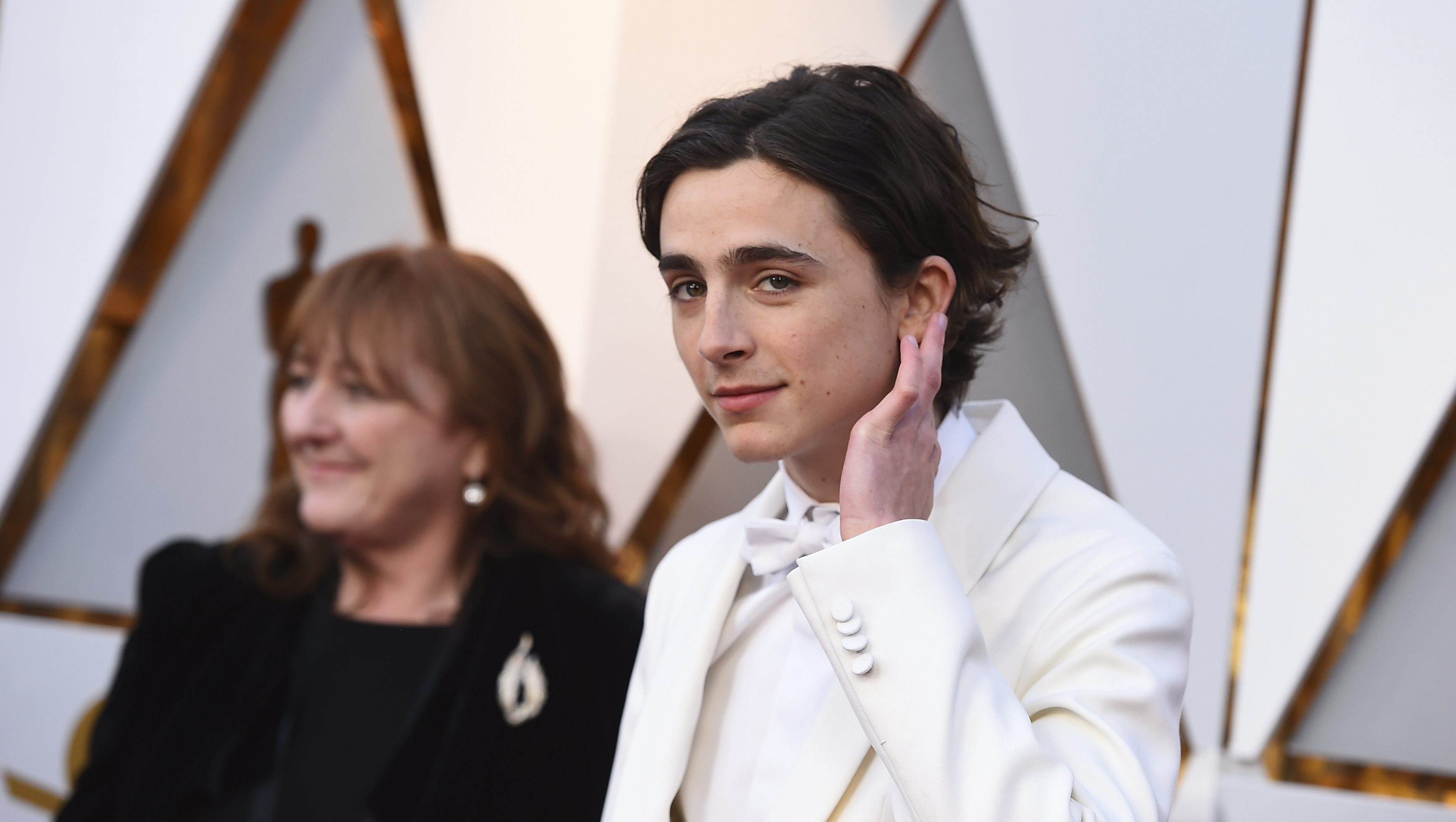 Timothee Chalamet arrives at the Oscars on Sunday, March 4, 2018, at the Dolby Theatre in Los Angeles. (Photo by Jordan Strauss/Invision/AP)