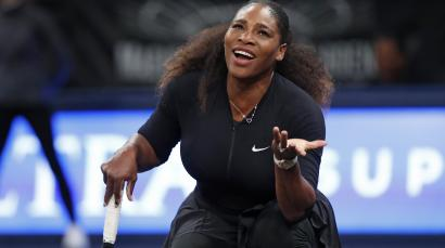 Serena Williams of the United States reacts as a call goes against her