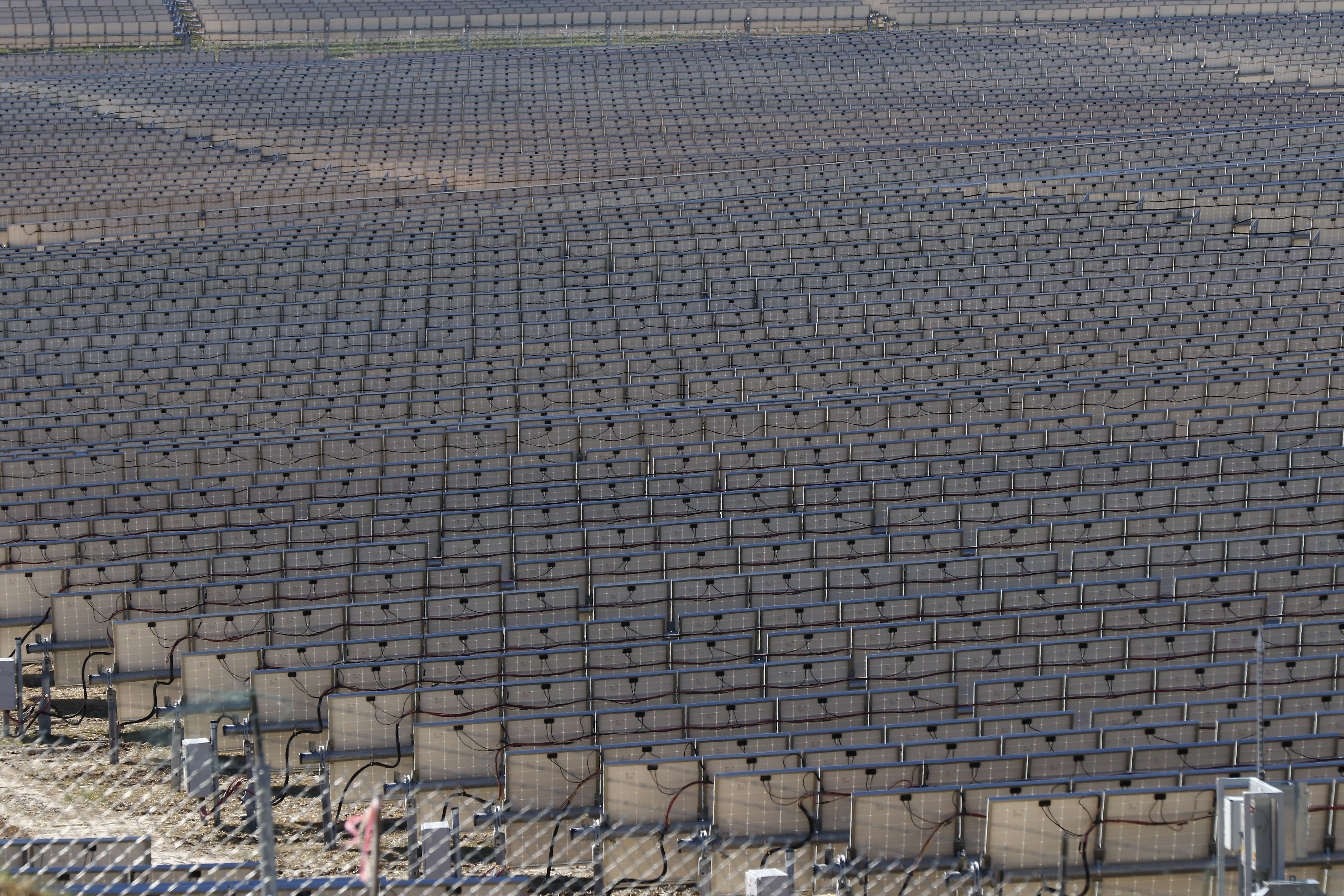 Looking like a vineyard, 206,000 polycrystalline solar panels make up the 540-acre site solar project in Lamar County near Sumrall, Miss., Wednesday, March 7, 2018. Cooperative Energy and Origis Energy officially unveiled their new joint venture 52-megawatt solar project, which began operation in December, 2017, and will power up to 11,400 homes. (AP Photo/Rogelio V. Solis)