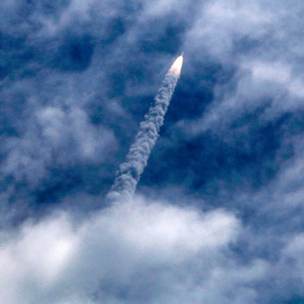 India's Polar Satellite Launch Vehicle (PSLV-C30) lifts off from the Satish Dhawan Space Centre in Sriharikota, South India, Monday, Sept. 28, 2015. PSLV-C30 mission included the launching of India's space observatory satellite. ASTROSAT.