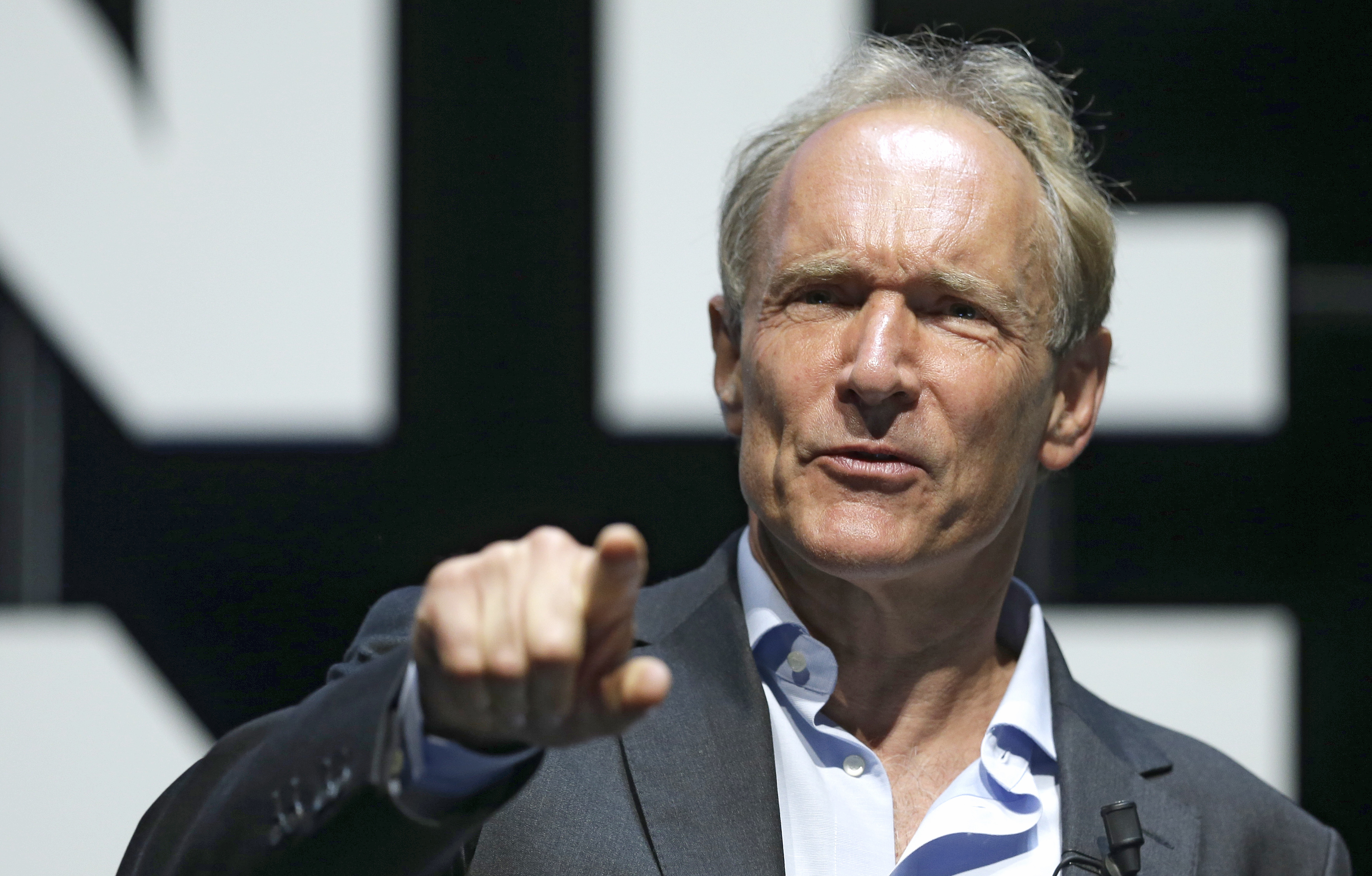 English computer scientist Tim Berners Lee, best known as the inventor of the World Wide Web attends the Cannes Lions 2015, International Advertising Festival in Cannes, southern France, Tuesday, June 23, 2015. Berners Lee implemented the first successful communication between a Hypertext Transfer Protocol (HTTP) client and server via the Internet. The Cannes Lions International Advertising Festival is a world's meeting place for professionals in the communications industry.(AP Photo/Lionel Cironneau)