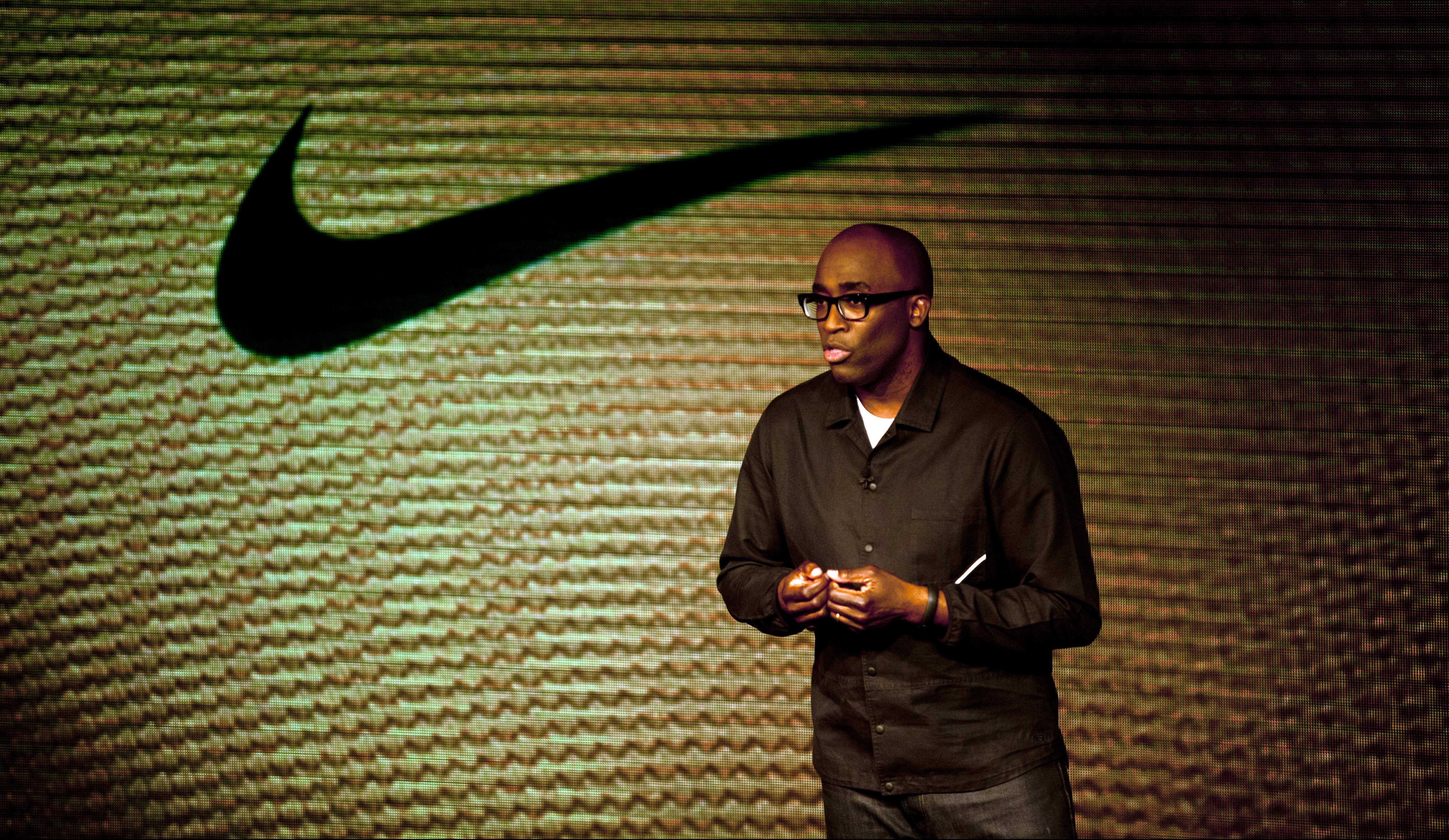 Trevor Edwards, Nike's brand president, speaks during a presentation of Brazil's new national soccer team uniform kit, designed by Nike, in Rio de Janeiro, Brazil, Sunday, Nov. 24, 2013. (AP Photo/ Dado Galdieri)
