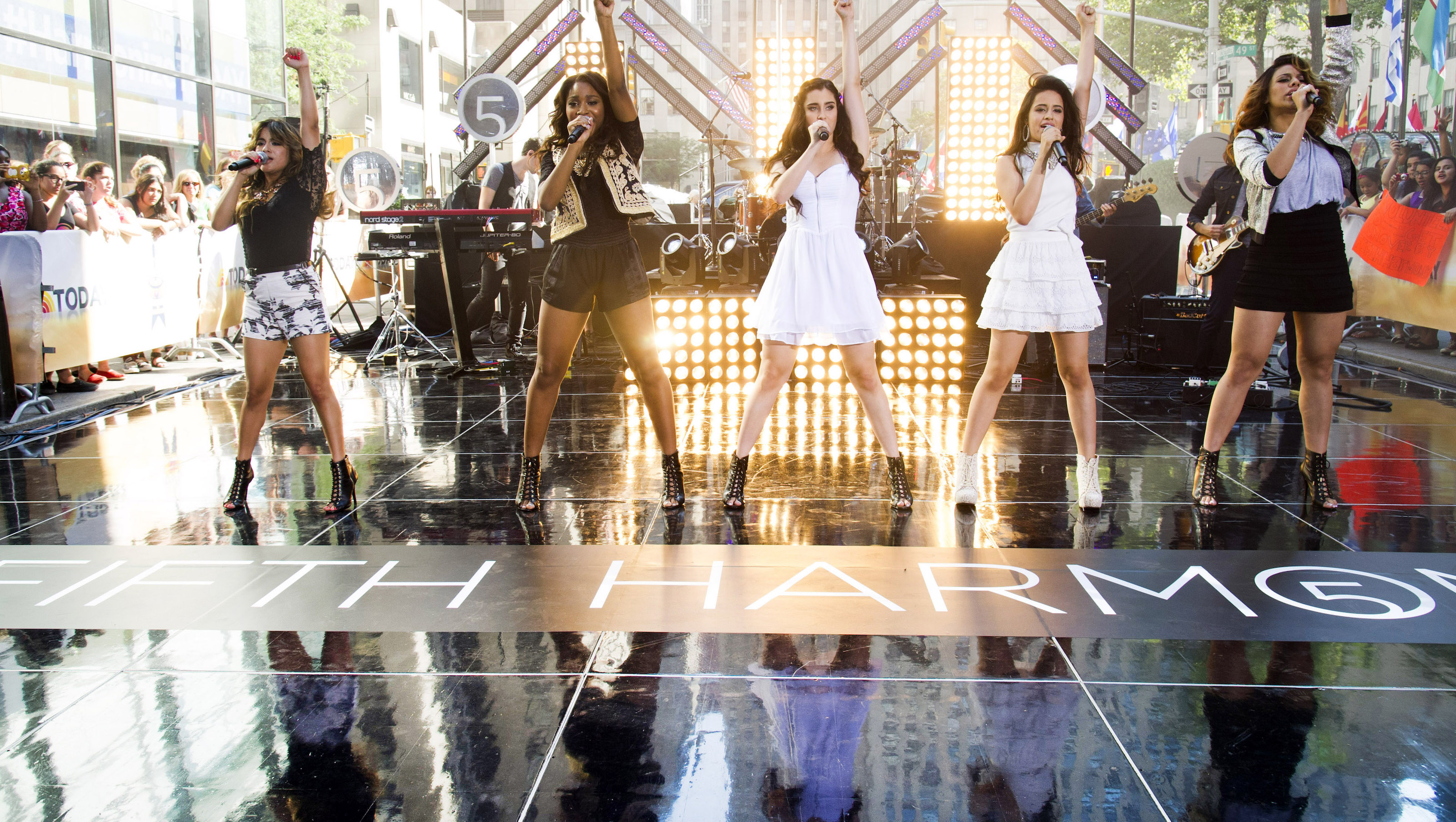 """Members of the band Fifth Harmony, from left, Ally Brooke Hernandez, Normani Hamilton, Lauren Jauregui, Camila Cabello and Dinah Jane Hansen perform on NBC's """"Today"""" show on Thursday, July 18, 2013 in New York. (Photo by Charles Sykes/Invision/AP)"""