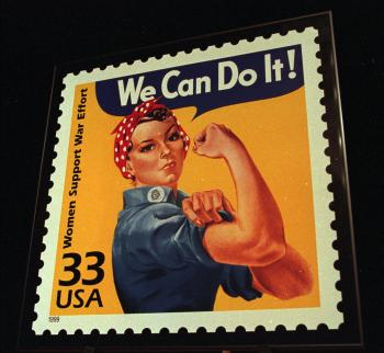 The United States Post Office presented an enlargement of the Celebrate the Century, Women Support the War stamp depicting Rosie the Riveter to the Portland Harbor Museum in South Portland, Maine, Friday, June 25, 1999. The stamp is part of a 15 stamp set honoring people, events, and lifestyles of the 1940's.
