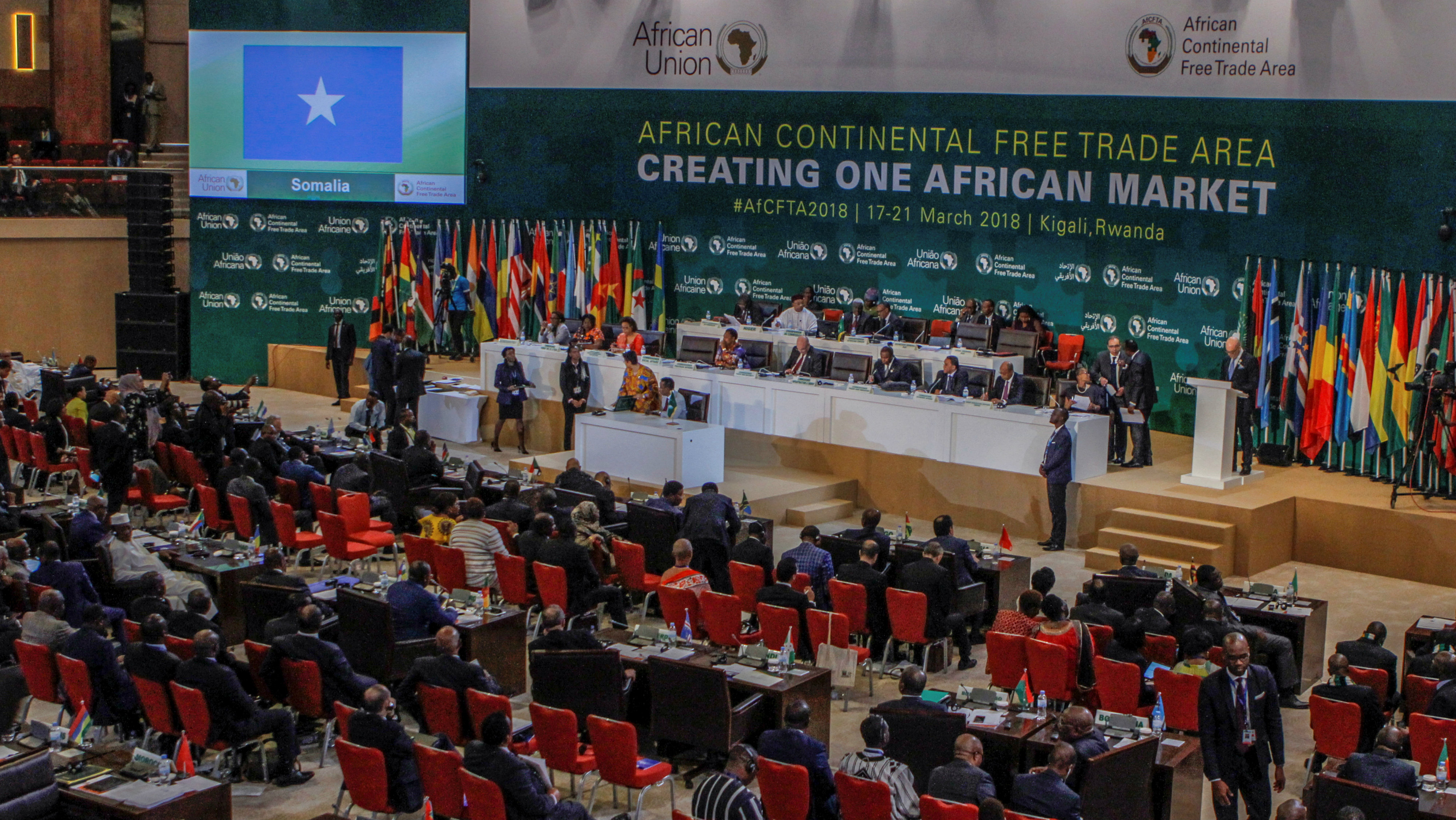 African leaders attend a meeting to sign a free trade deal that would create a liberalized market for goods and services across the continent, in Kigali, Rwanda March 21, 2018.