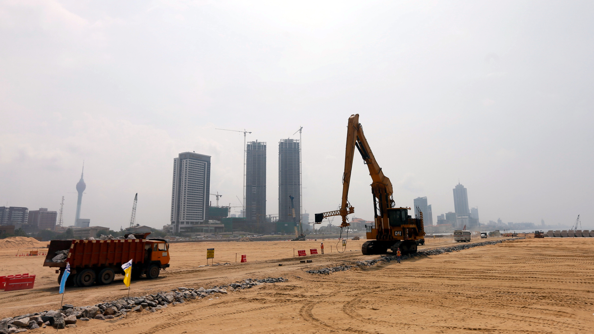 A general view of the Colombo Port City construction site with the Shangri La project in the background, in Colombo, Sri Lanka October 25, 2017.
