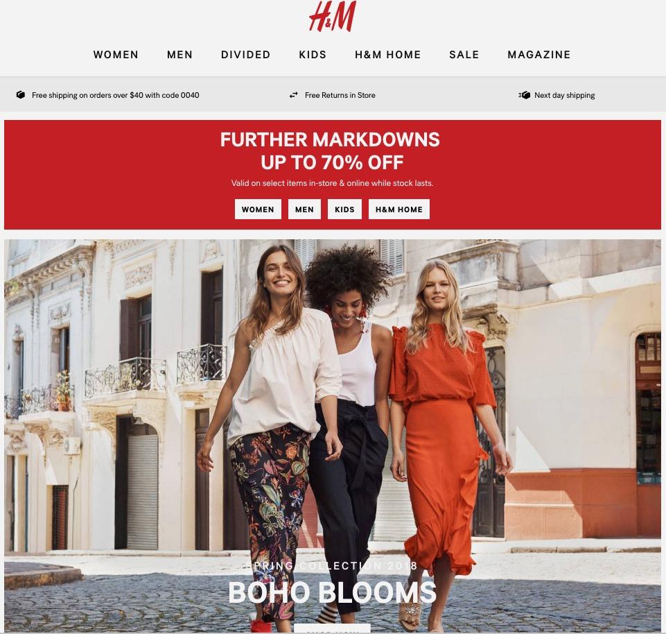 H&M homepage