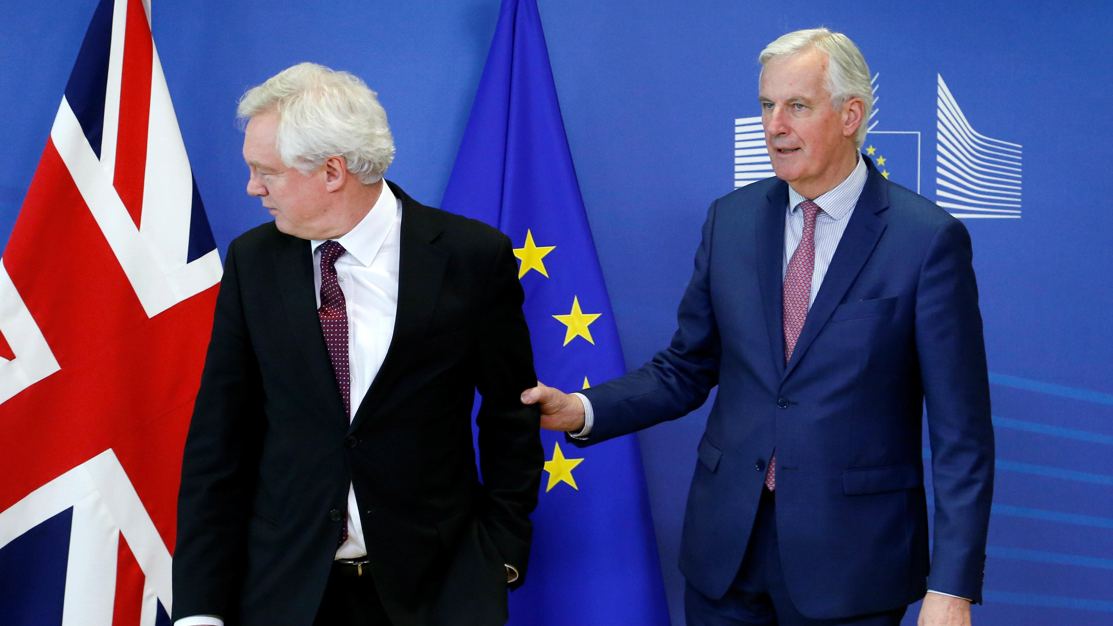 Britain's Secretary of State for Exiting the European Union David Davis and European Union's chief Brexit negotiator Michel Barnier