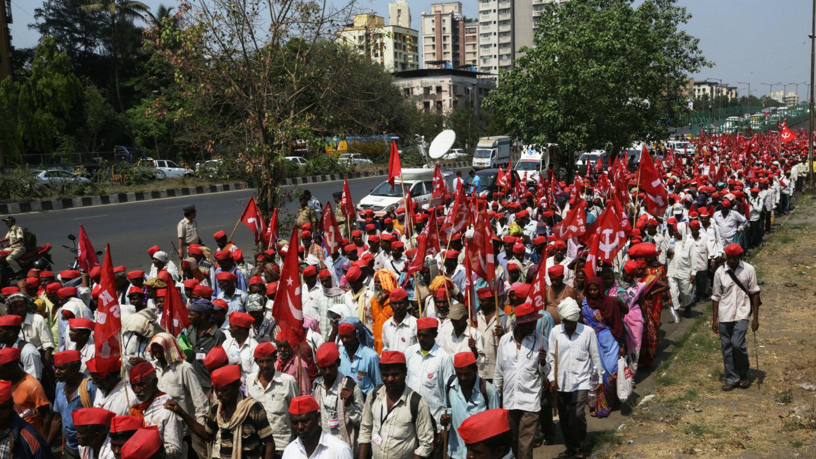 Farmers from Nashik walk towards Mumbai in a protest rally on March 11, 2018.