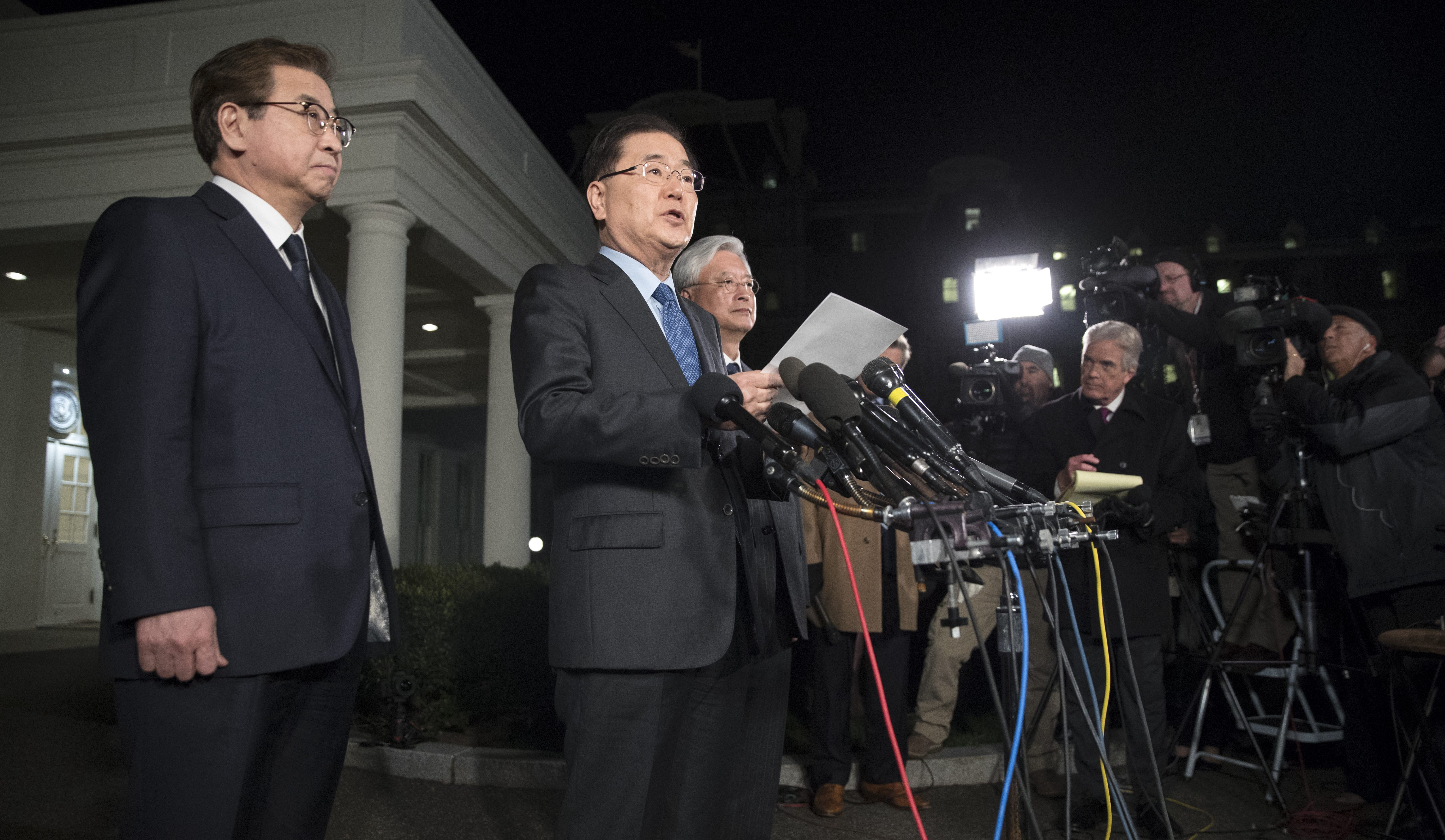South Korea announcing the latest developments on North Korea in the White House.