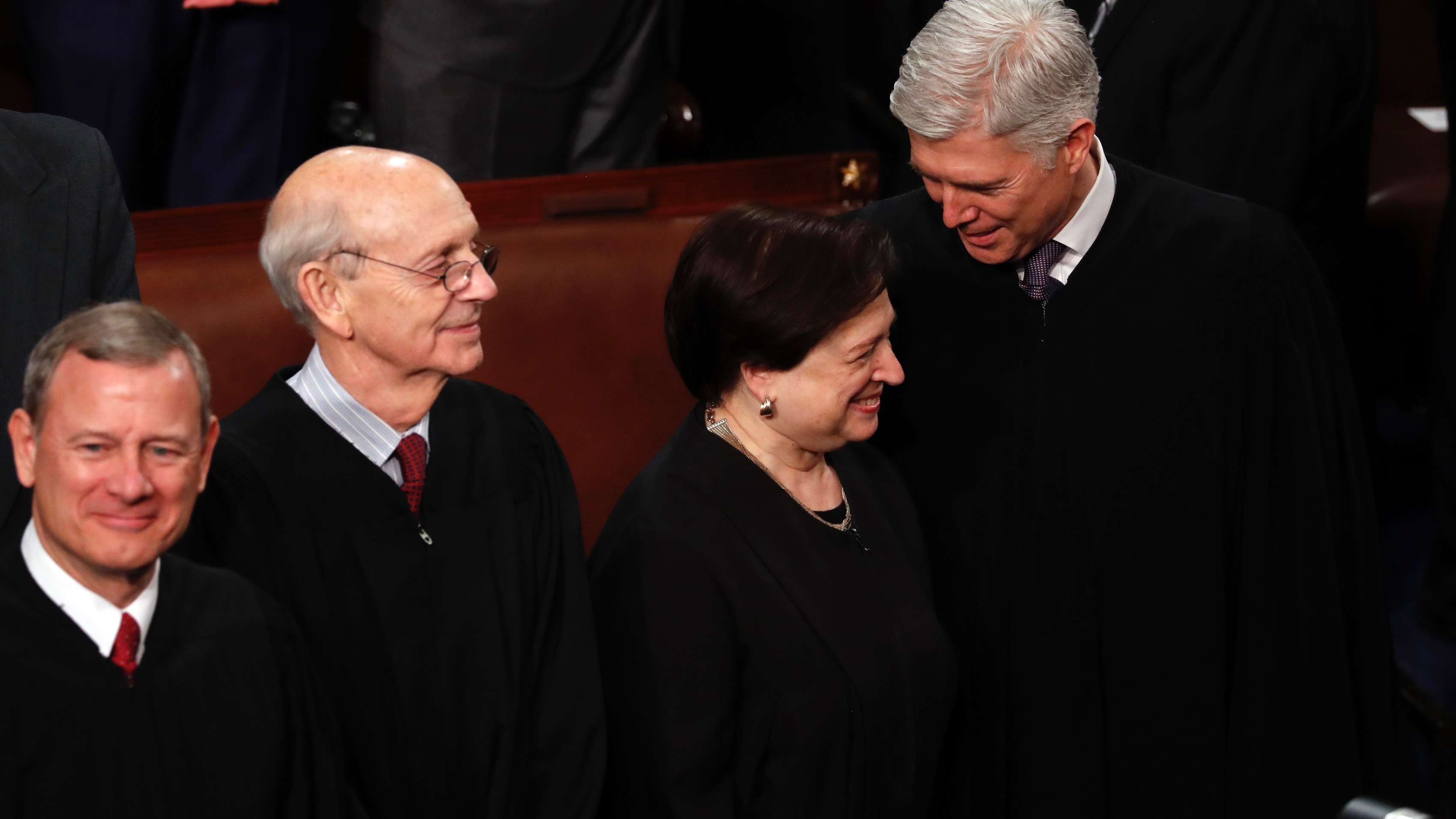 US Supreme Court Justices John Roberts, Stephen Breyer, Elena Kagan and Neil Gorsuch, amused on Jan. 30, 2018.