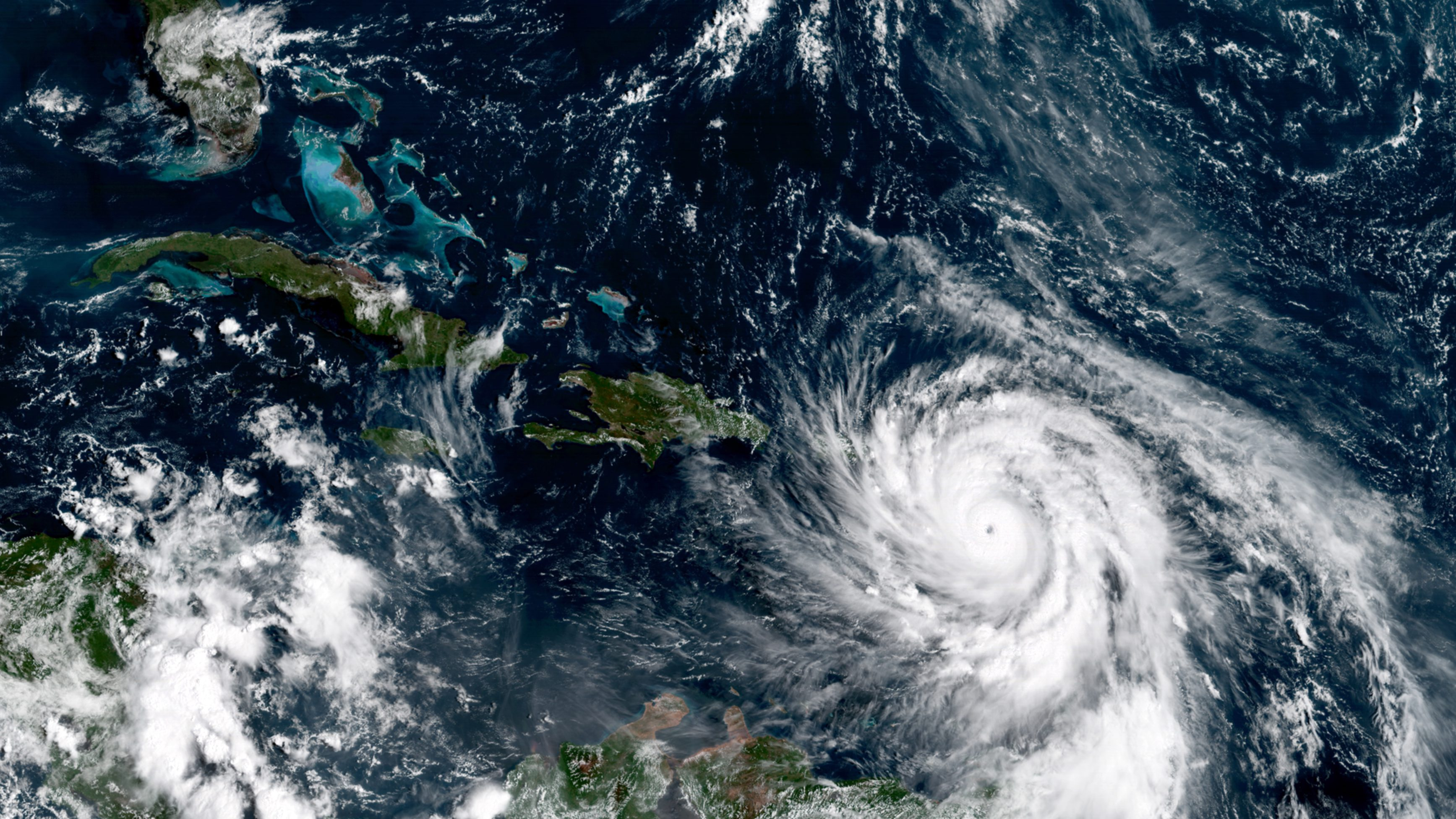 The severity of extreme weather events—like Hurricane Maria, pictured here—can be attributed to climate change.