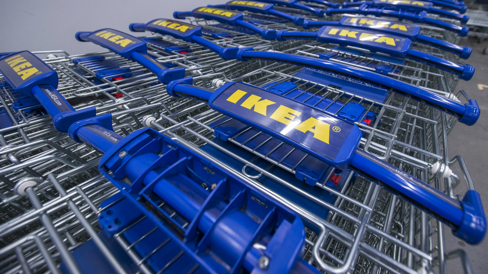 Ikea trolleys outside a concept store in the Netherlands.