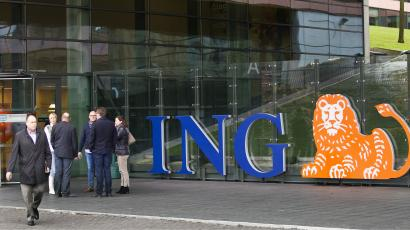 Employees Of Ing Group Take A Break In Front Their Office Amsterdam