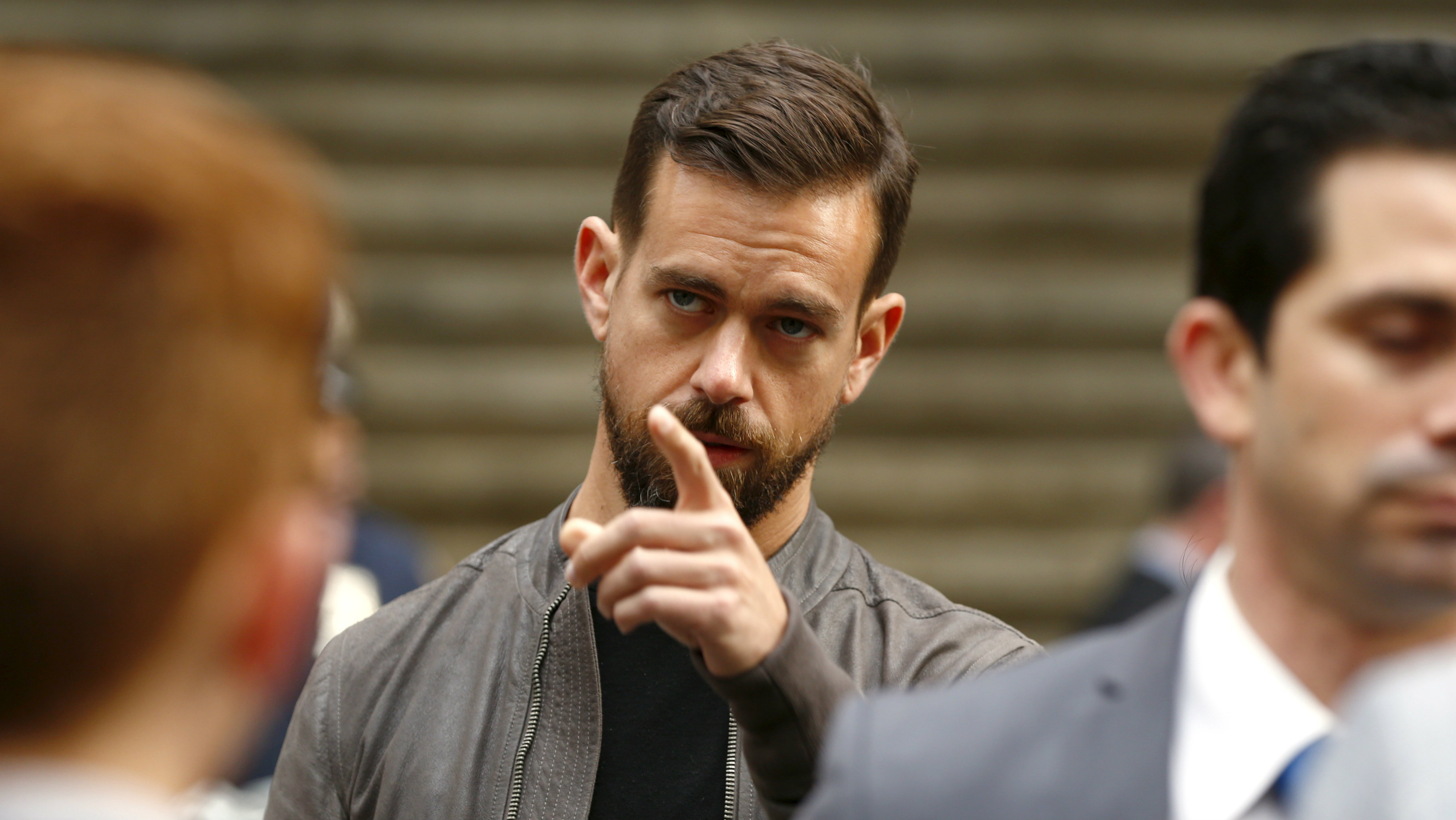 Jack Dorsey, CEO of Square and CEO of Twitter, arrives at the New York Stock Exchange for the IPO of Square Inc., in New York November 19, 2015. Square Inc priced shares at $9 for its initial public offering, about 25 percent less than it had hoped, as it struggled to win over investors skeptical about its business and valuation before trading begins on Thursday