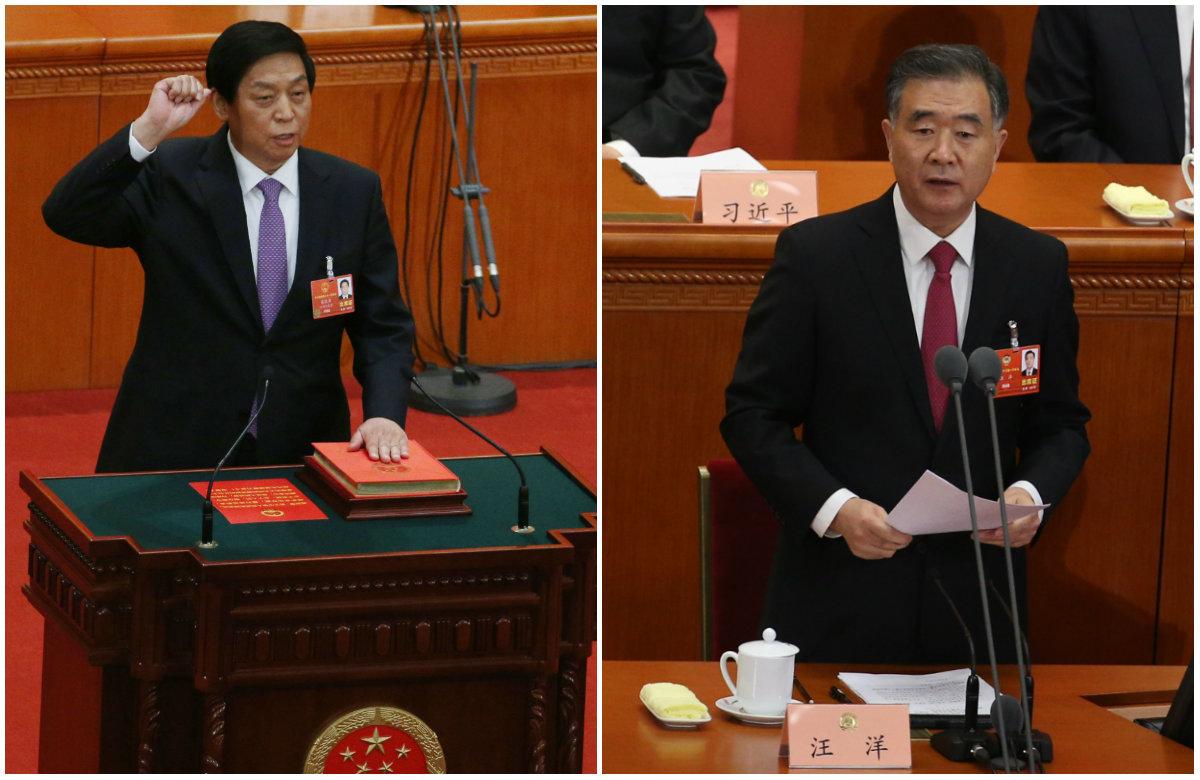 Li Zhanshu (left) and Wang Yang.