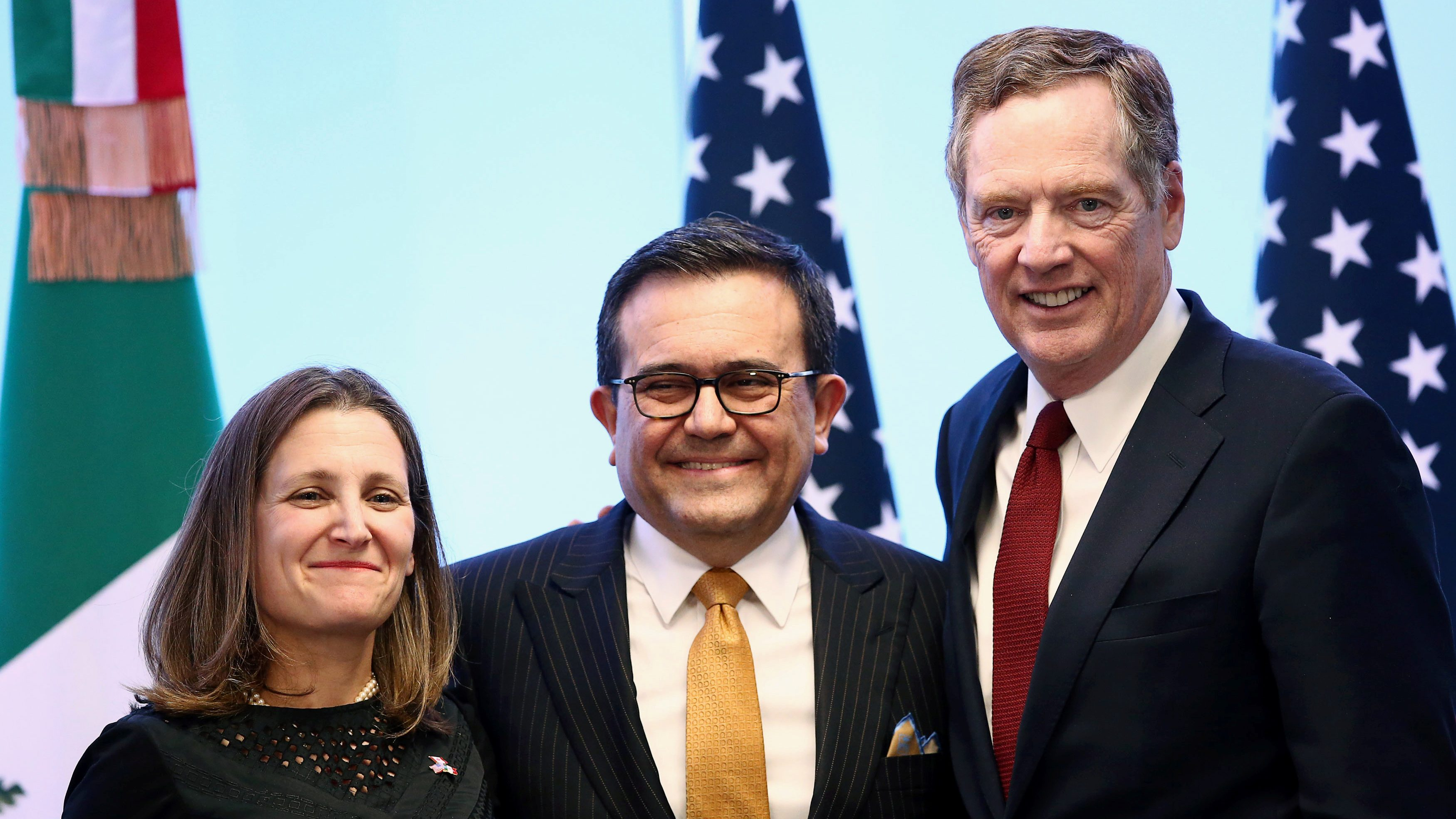Canadian Foreign Minister Chrystia Freeland, Mexican Economy Minister Ildefonso Guajardo and U.S. Trade Representative Robert Lighthizer