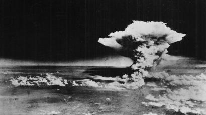 An explosion fallout from a nuclear bomb.