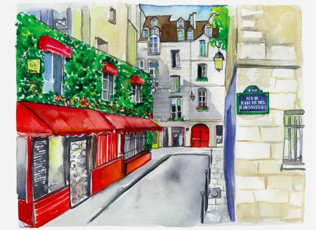 An illustration of a Paris street.