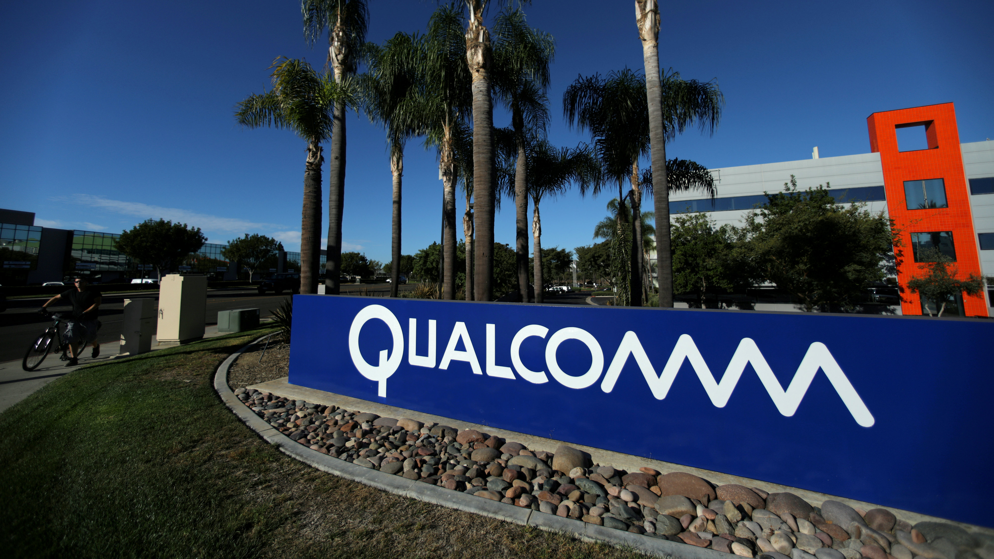 A sign on the Qualcomm campus is seen in San Diego, California
