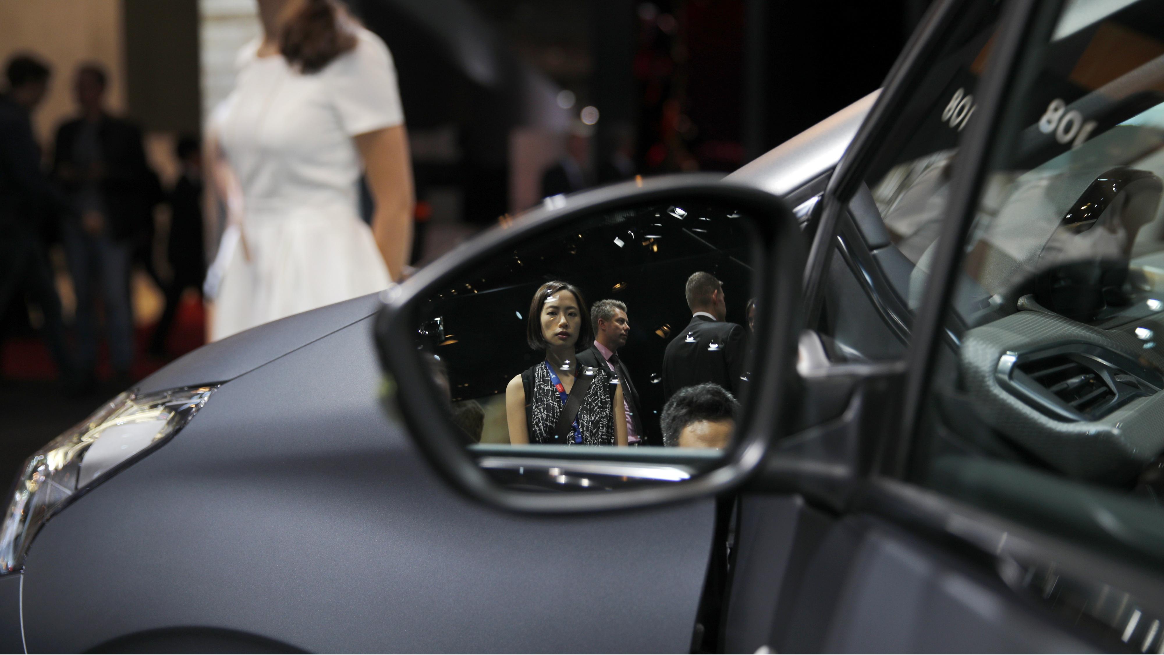 A rear-view mirror.