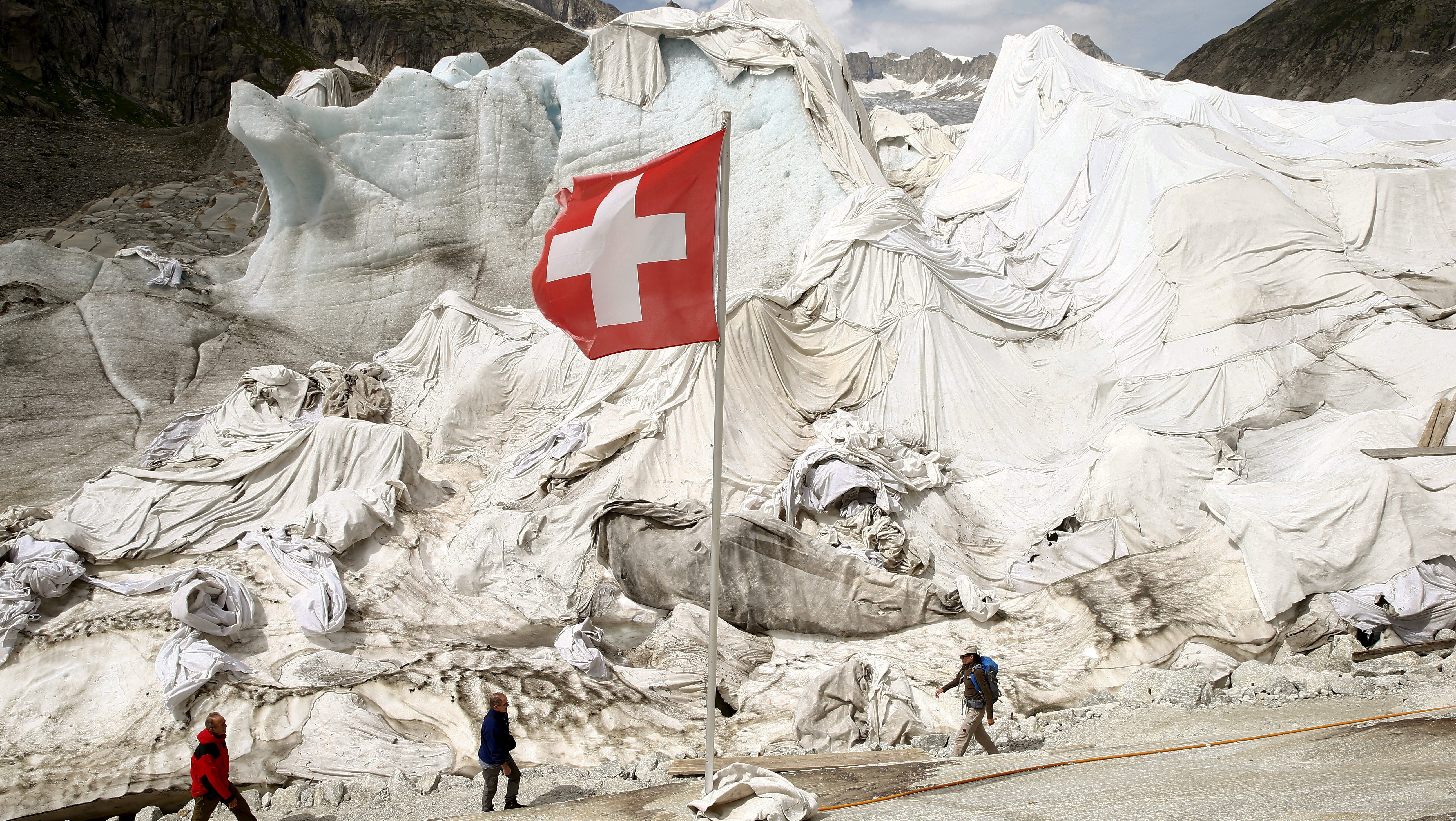 The Rhone Glacier wrapped in blankets.