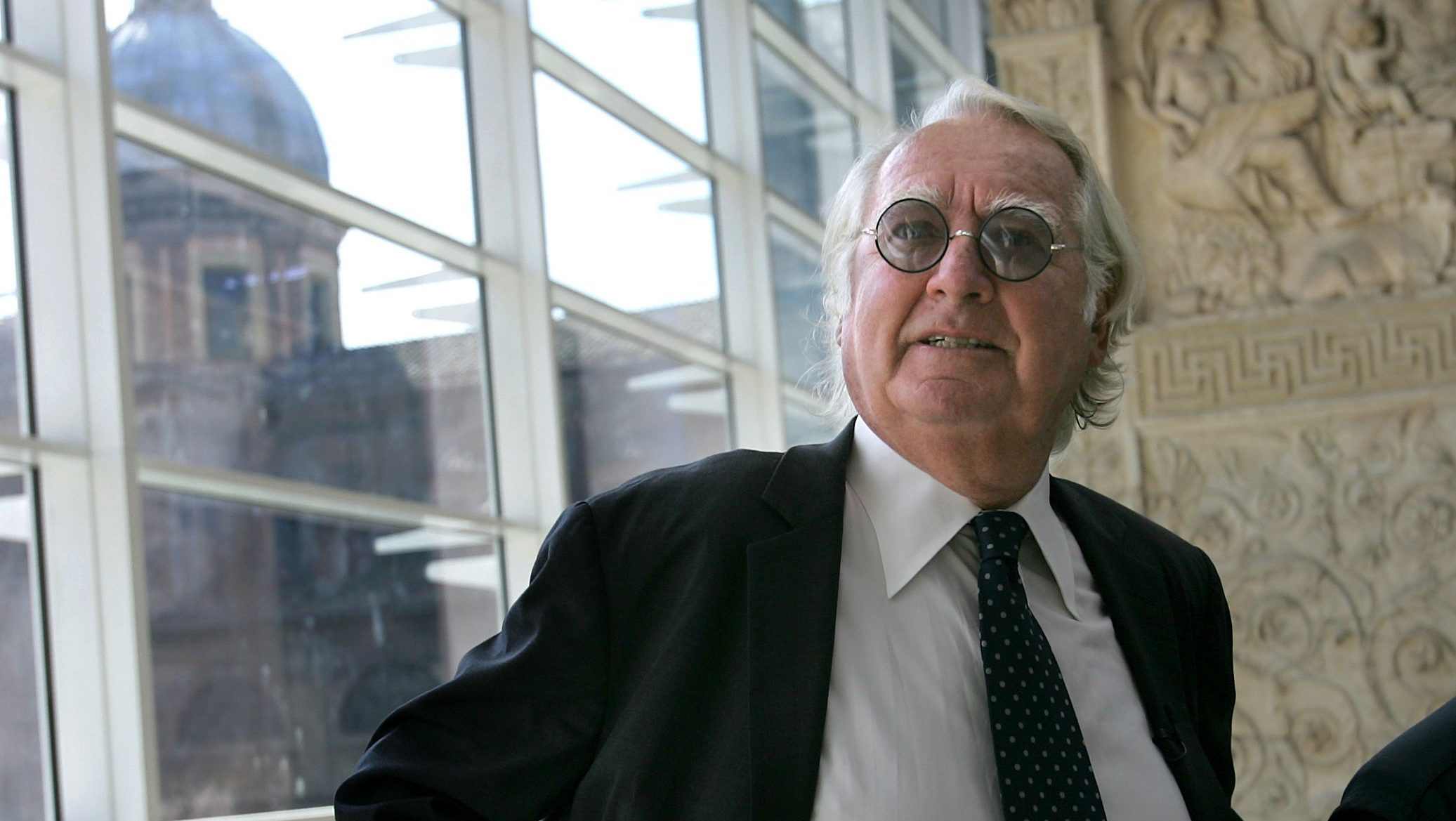 U.S. architect Richard Meier poses in the Ara Pacis museum which he designed in downtown Rome, in an April 21, 2006 file photo.