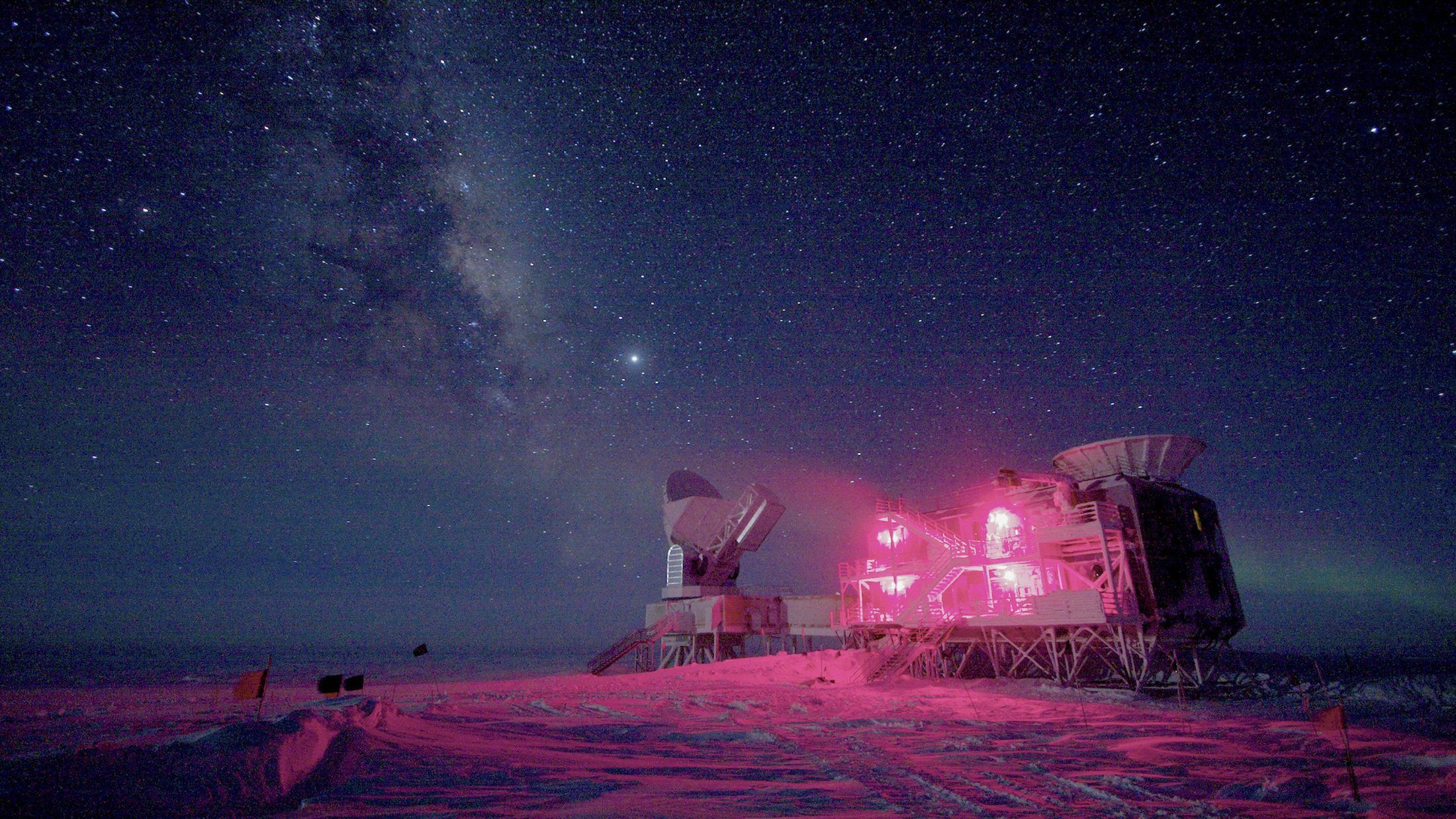 The 10-m (32.8 ft) South Pole Telescope and the BICEP (Background Imaging of Cosmic Extragalactic Polarization) Telescope at Amundsen-Scott South Pole Station is seen against the night sky with the Milky Way in this National Science Foundation picture taken in August 2008. Astronomers announced on March 17, 2014 that they had discovered what many consider the holy grail of their field: ripples in the fabric of space-time that are echoes of the massive expansion of the universe that took place just after the Big Bang.  The gravitational waves were detected by the BICEP telescope.