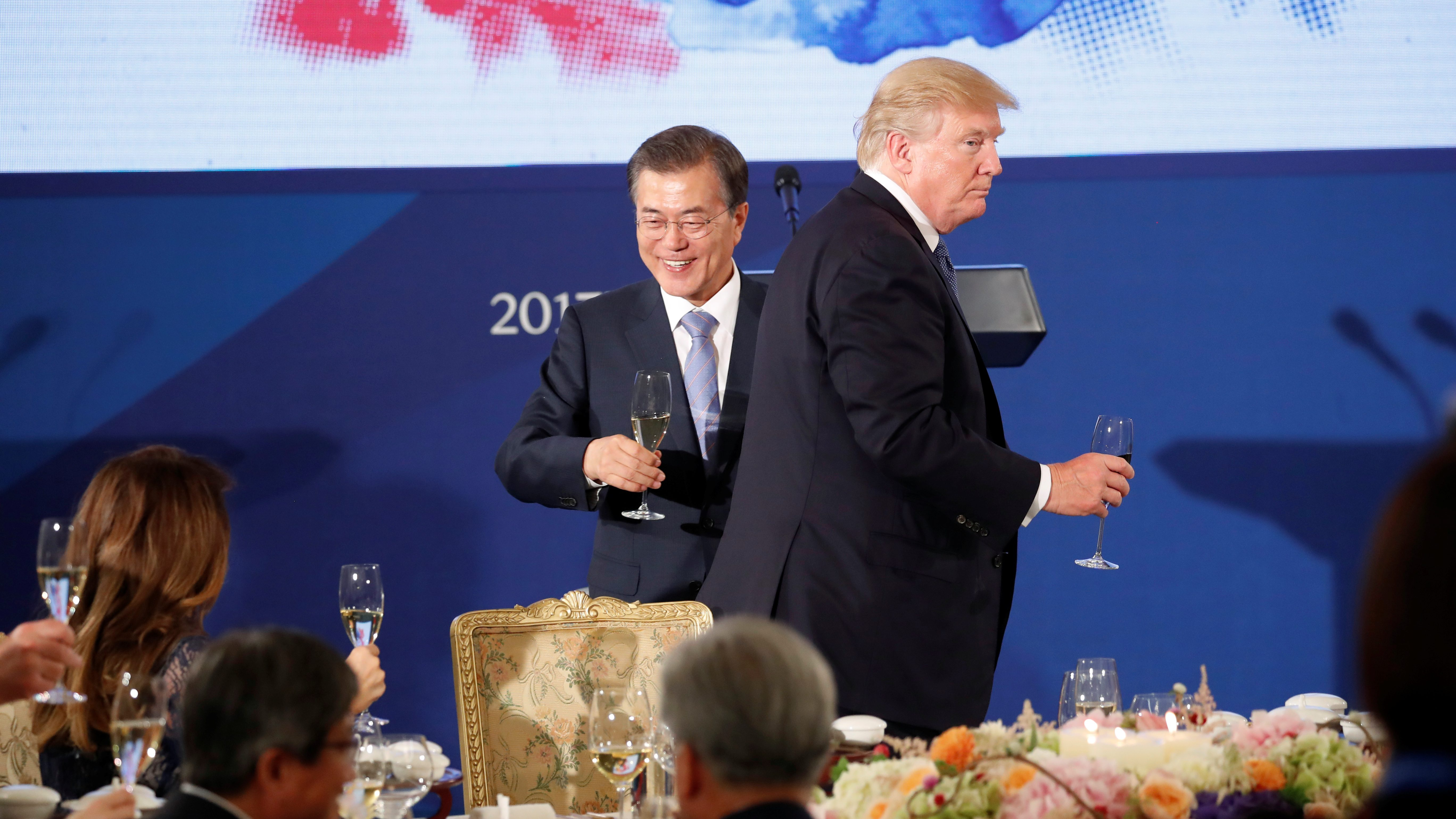 U.S. President Donald Trump attends a state dinner hosted by South Korea's President Moon Jae-in in his honor at the Blue House in Seoul, South Korea November 7, 2017.