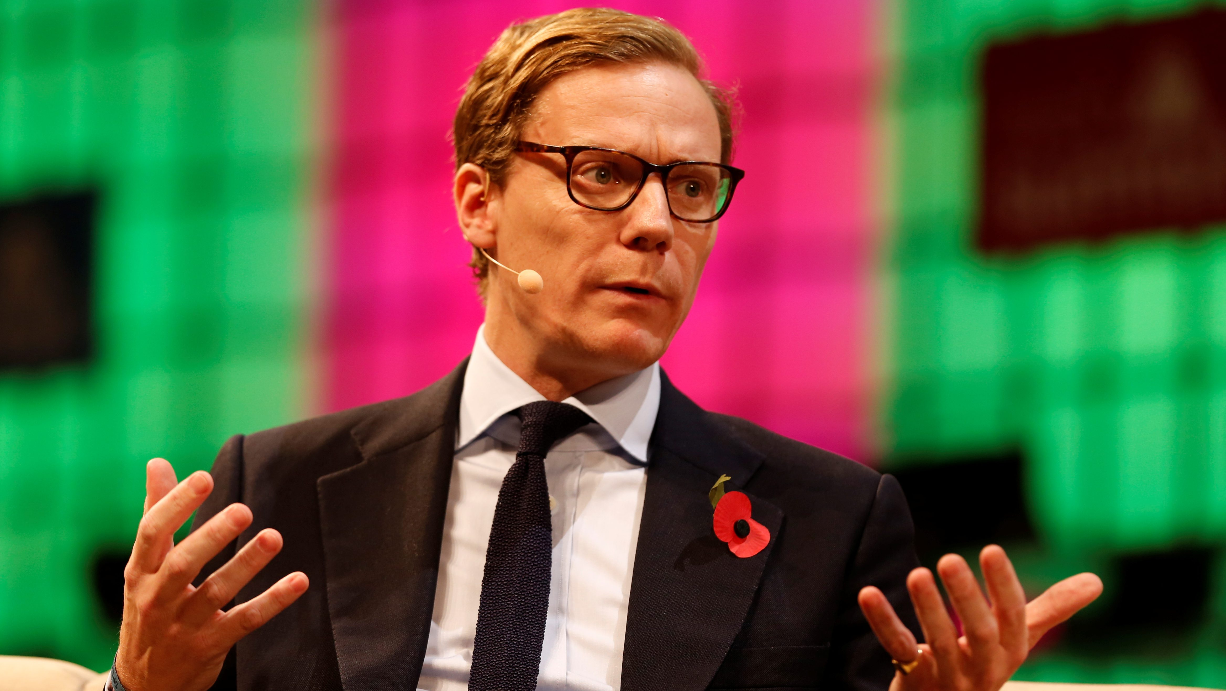 CEO of Cambridge Analytica, Alexander Nix, speaks during the Web Summit, Europe's biggest tech conference, in Lisbon, Portugal, November 9, 2017. REUTERS/Pedro Nunes - RC1C55D2F2F0
