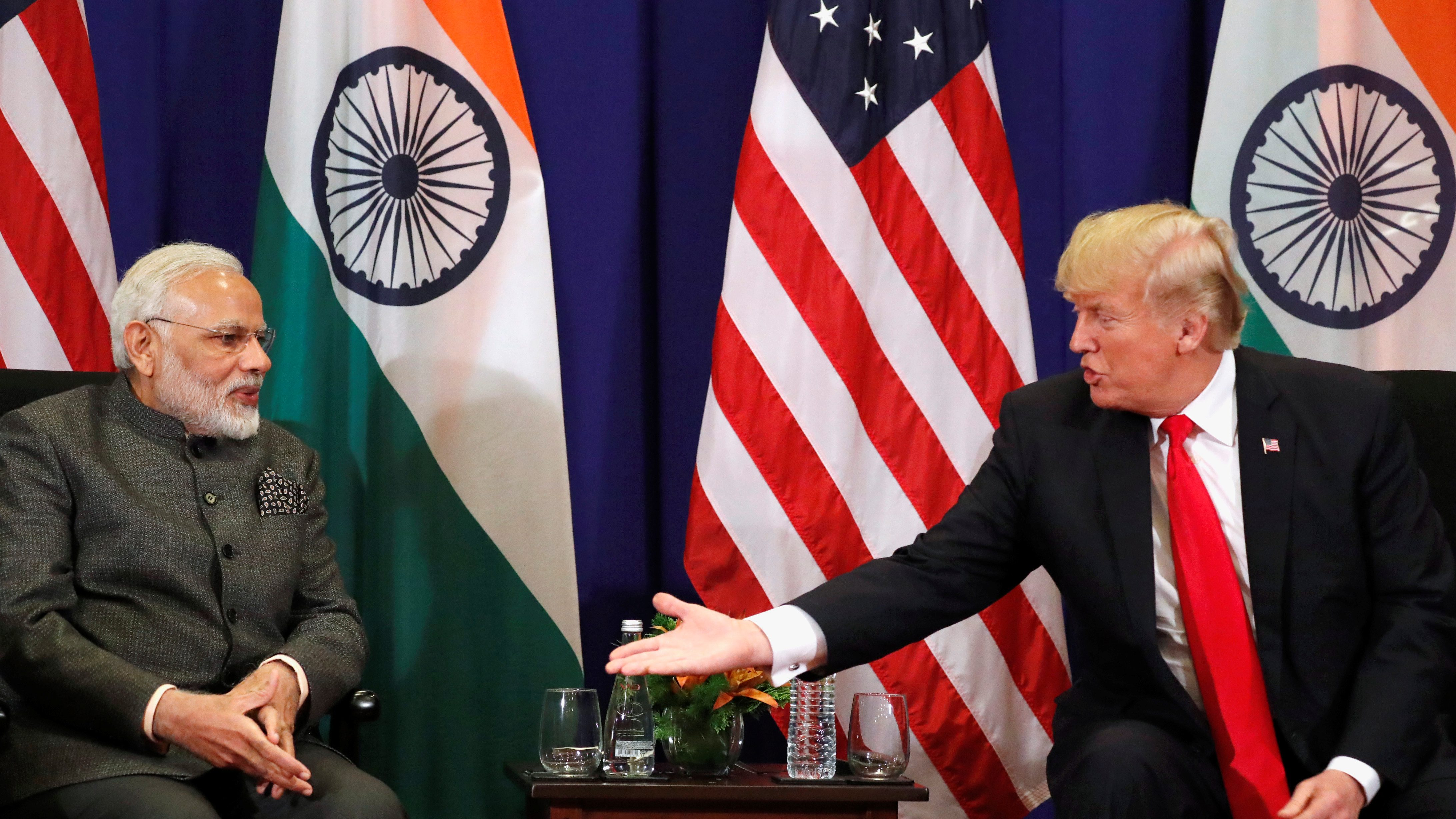 U.S. President Donald Trump holds a bilateral meeting with India's Prime Minister Narendra Modi alongside the ASEAN Summit in Manila, Philippines November 13, 2017. REUTERS/Jonathan Ernst - RC157292F150
