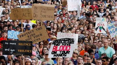 National School Walkout: Protestors rally outside the Capitol urging Florida lawmakers to reform gun laws, in the wake of a mass shooting at Marjory Stoneman Douglas High School, in Tallahassee, Florida, U.S.