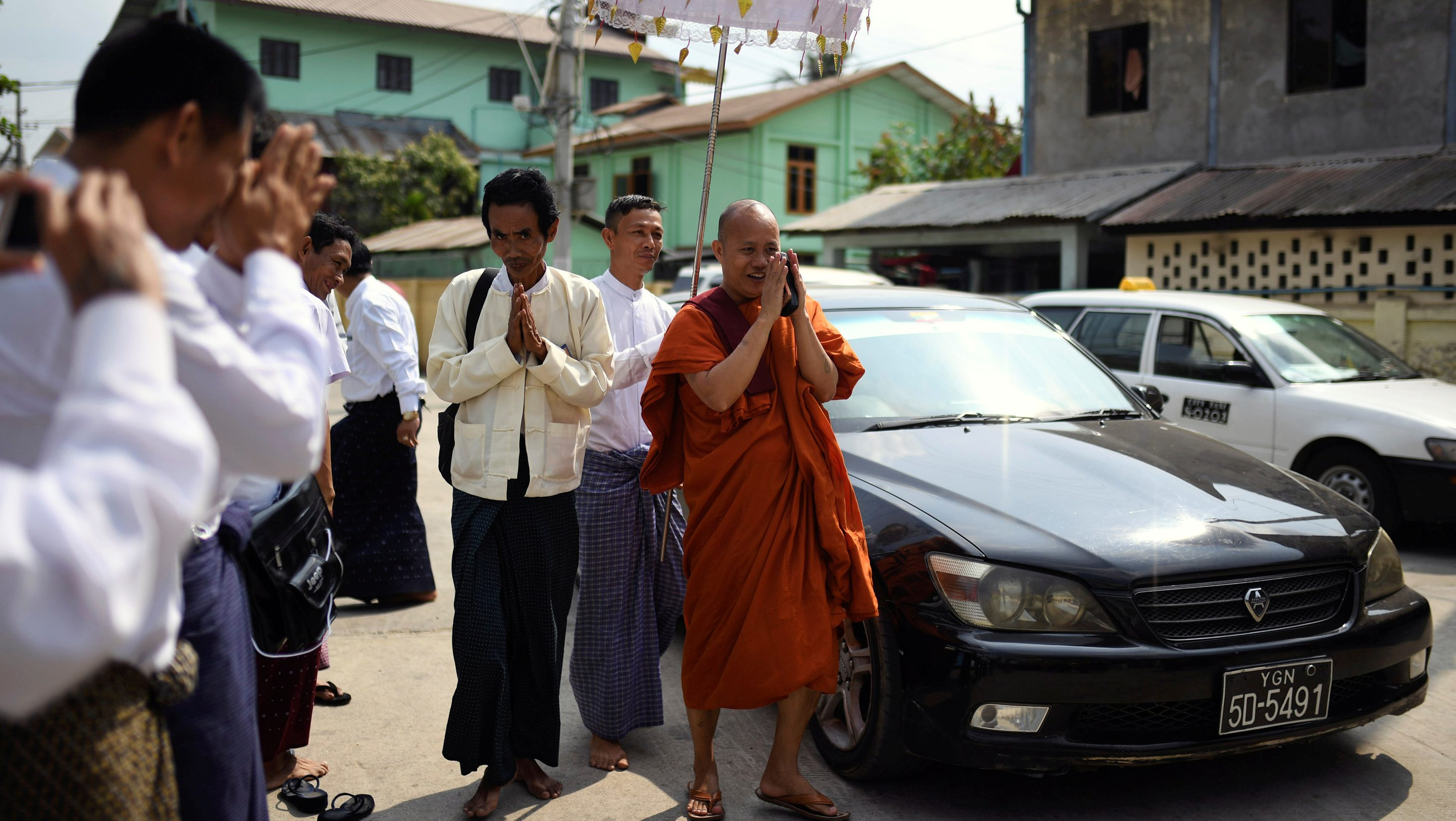 Buddhist monk Wirathu, who was banned by the Myanmar government from giving sermons for one year, arrives at a monastery to give a speech after the ban expired on March 9, in Yangon, Myanmar March 10, 2018. REUTERS/Stringer NO RESALES NO ARCHIVES - RC1388889C70