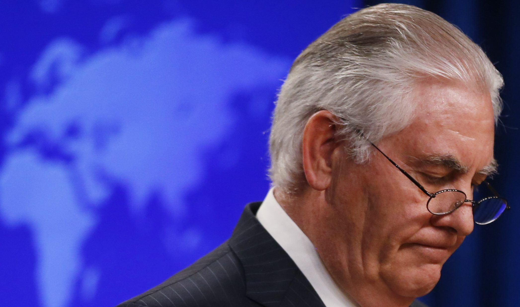 U.S. Secretary of State Rex Tillerson speaks to the media at the U.S. State Department after being fired by President Donald Trump in Washington, U.S., March 13, 2018. REUTERS/Leah Millis - HP1EE3D1FRW4M