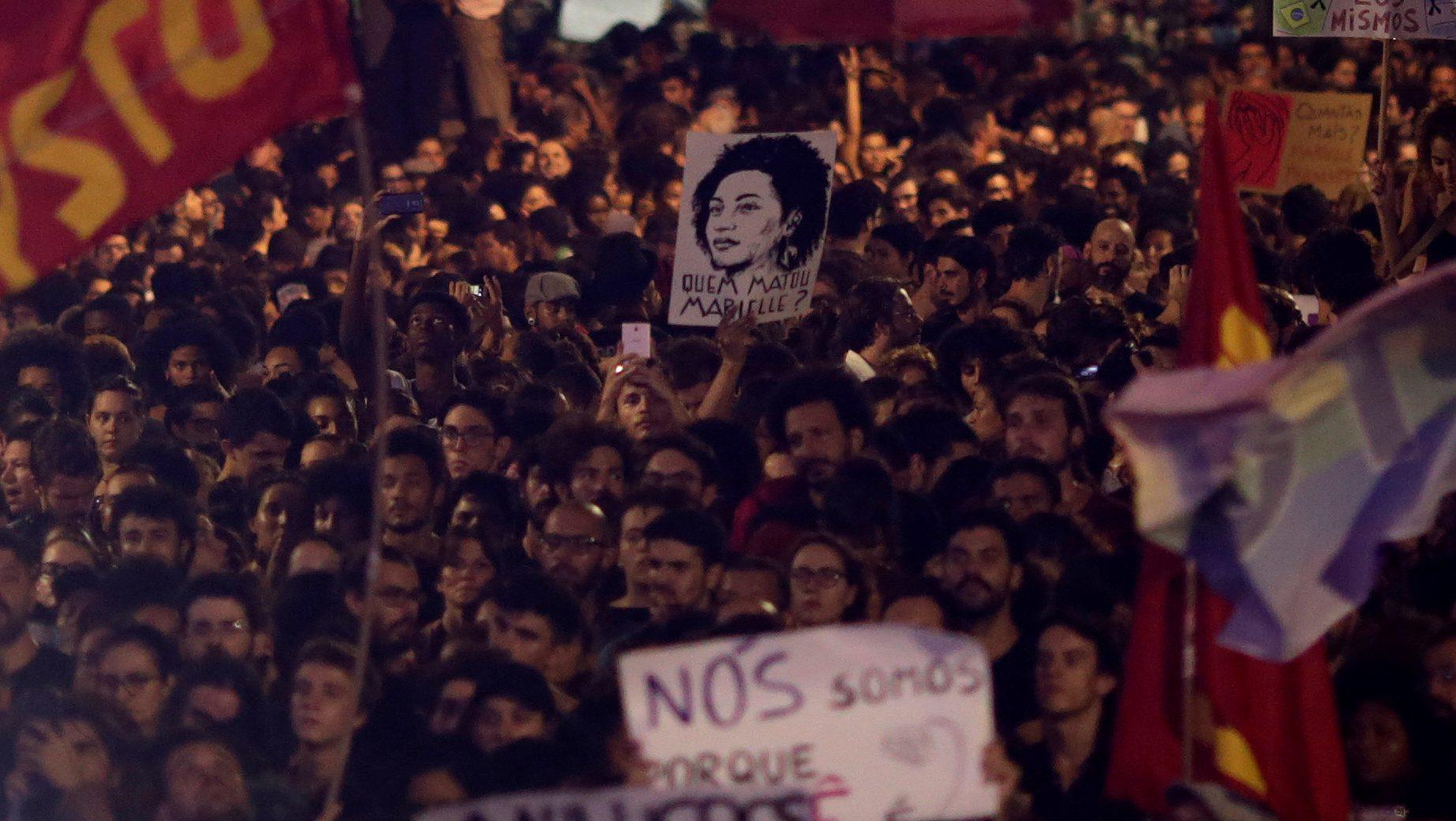 Demonstrators rally against the death of Rio de Janeiro city councilor Marielle Franco who was shot dead in Rio de Janeiro, Brazil