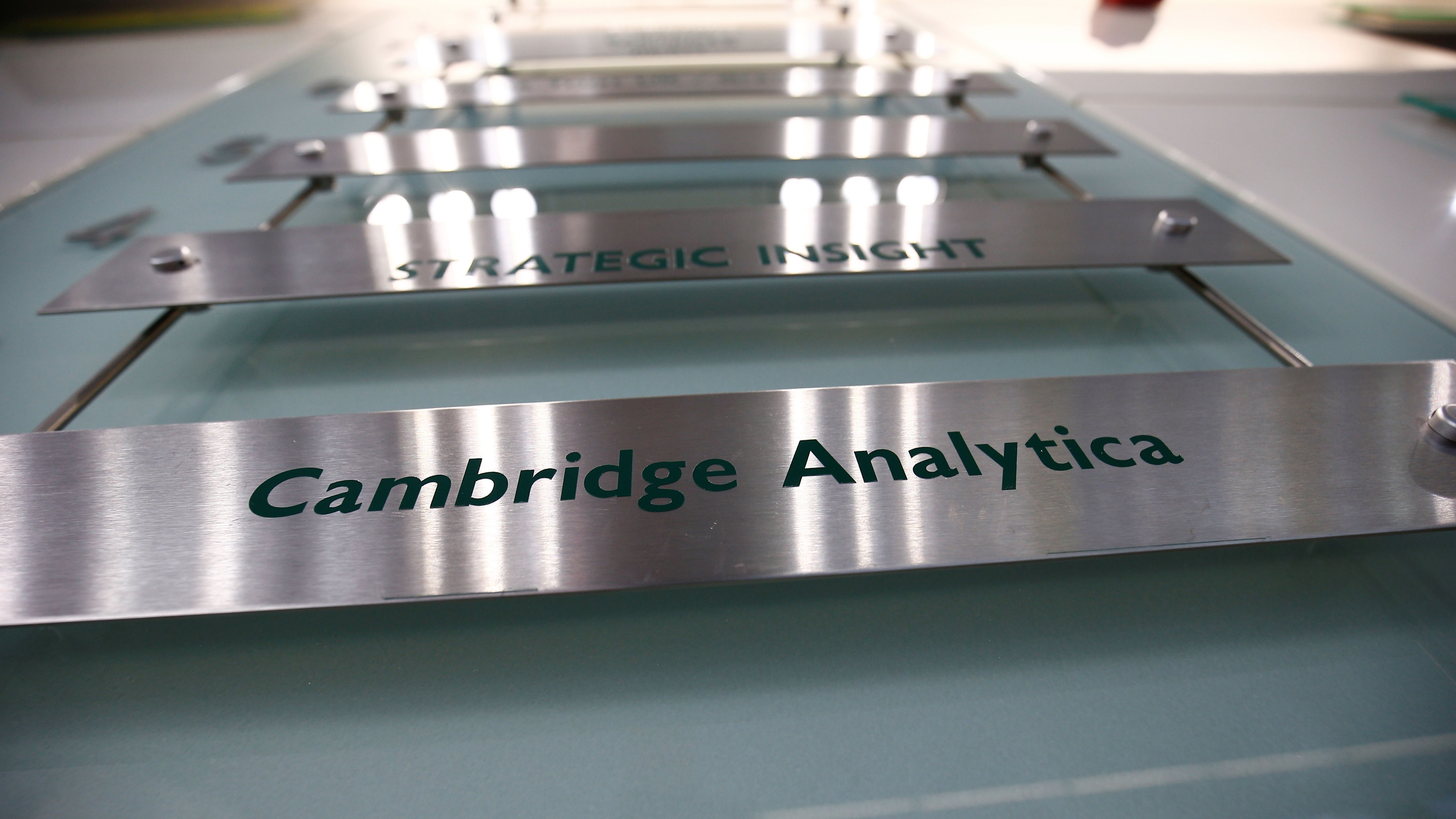 The nameplate of political consultancy, Cambridge Analytica, is seen in central London, Britain March 21, 2018.