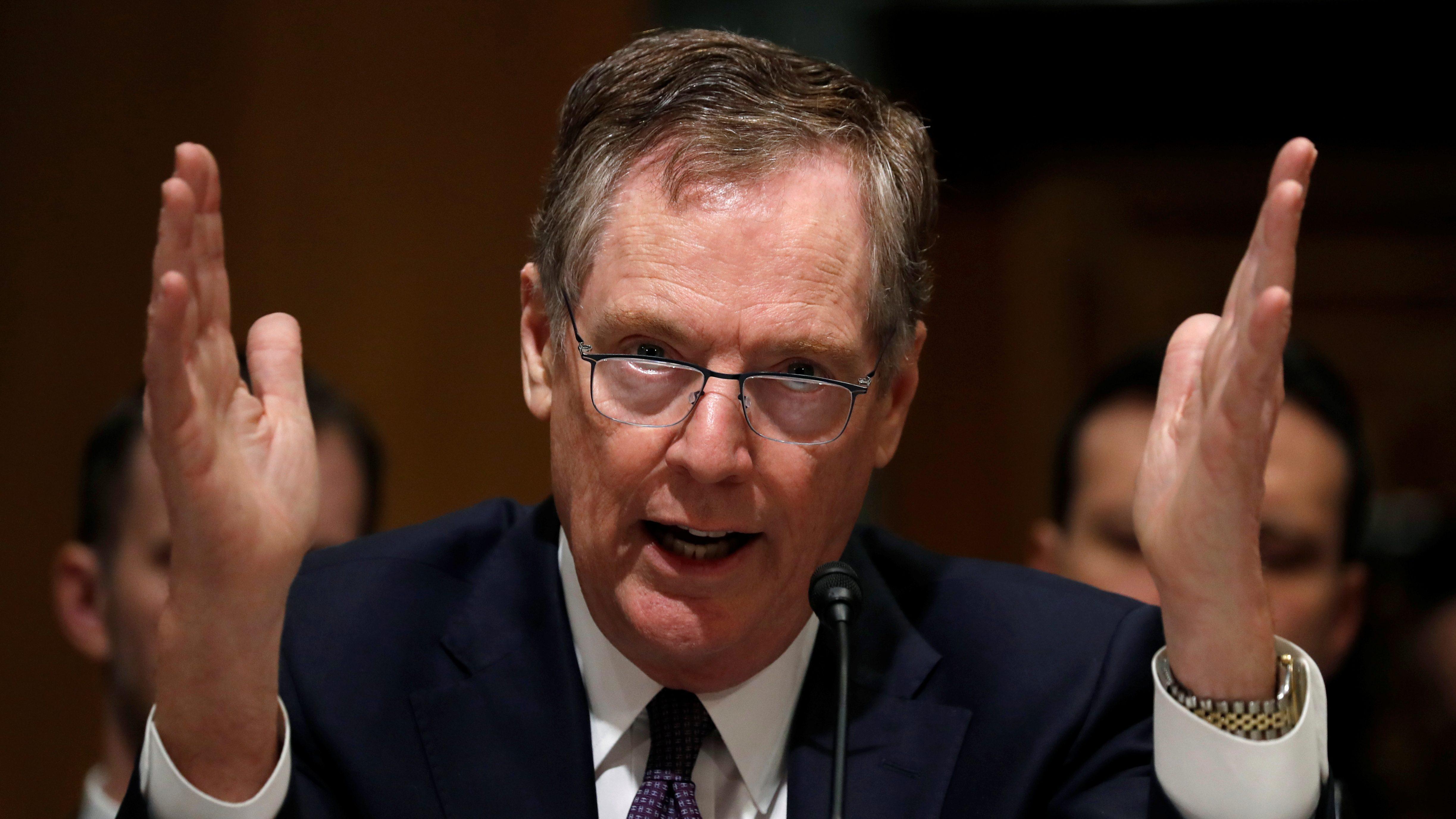 U.S. Trade Representative Robert Lighthizer testifies before a Senate Finance Committee hearing.