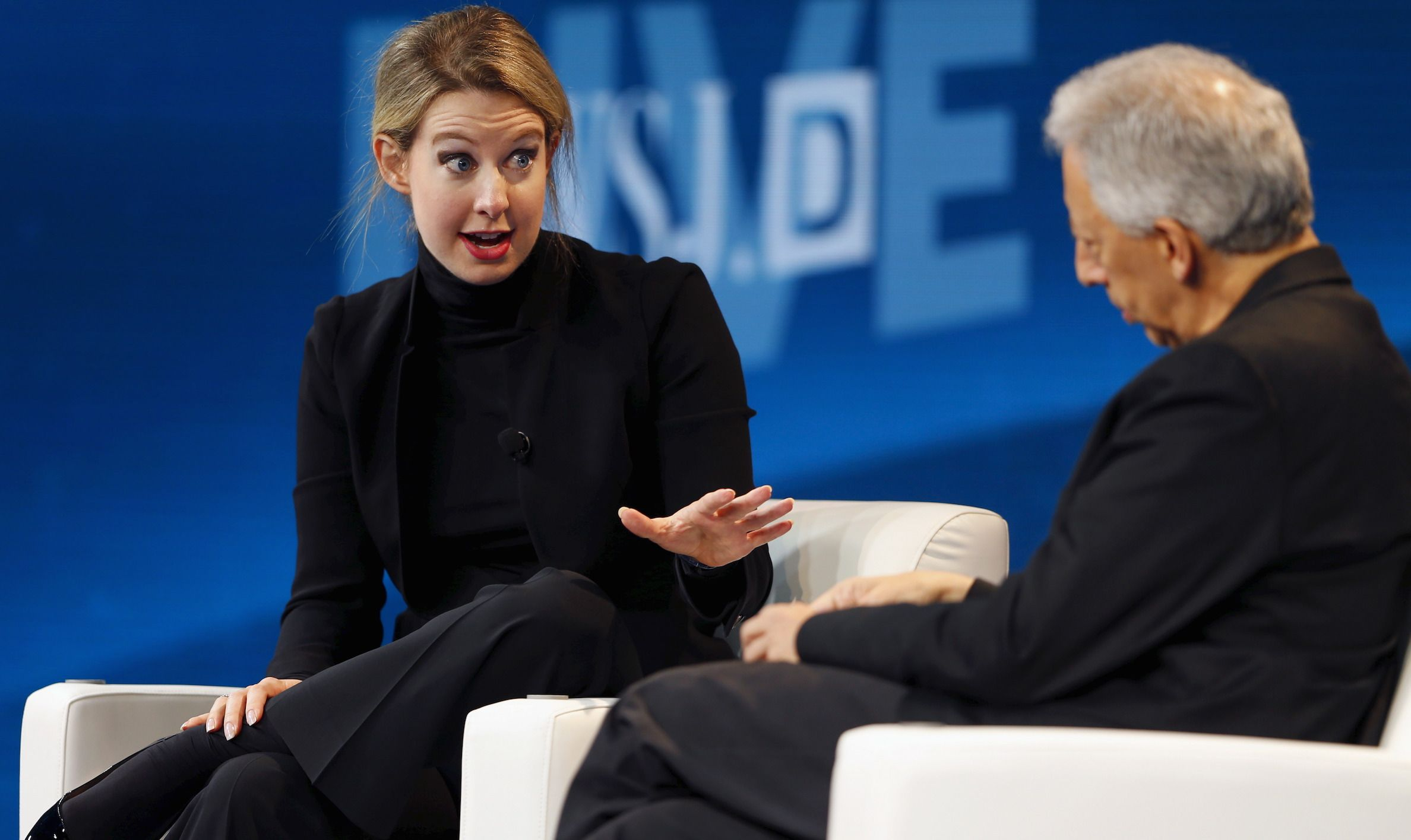 Elizabeth Holmes, founder and CEO of Theranos, speaks with Jonathan Krim, global technology editor at the Wall Street Journal, at the Wall Street Journal Digital Live (WSJDLive) conference at the Montage hotel in Laguna Beach, California, October 21, 2015. REUTERS/Mike Blake - RTS5HYI