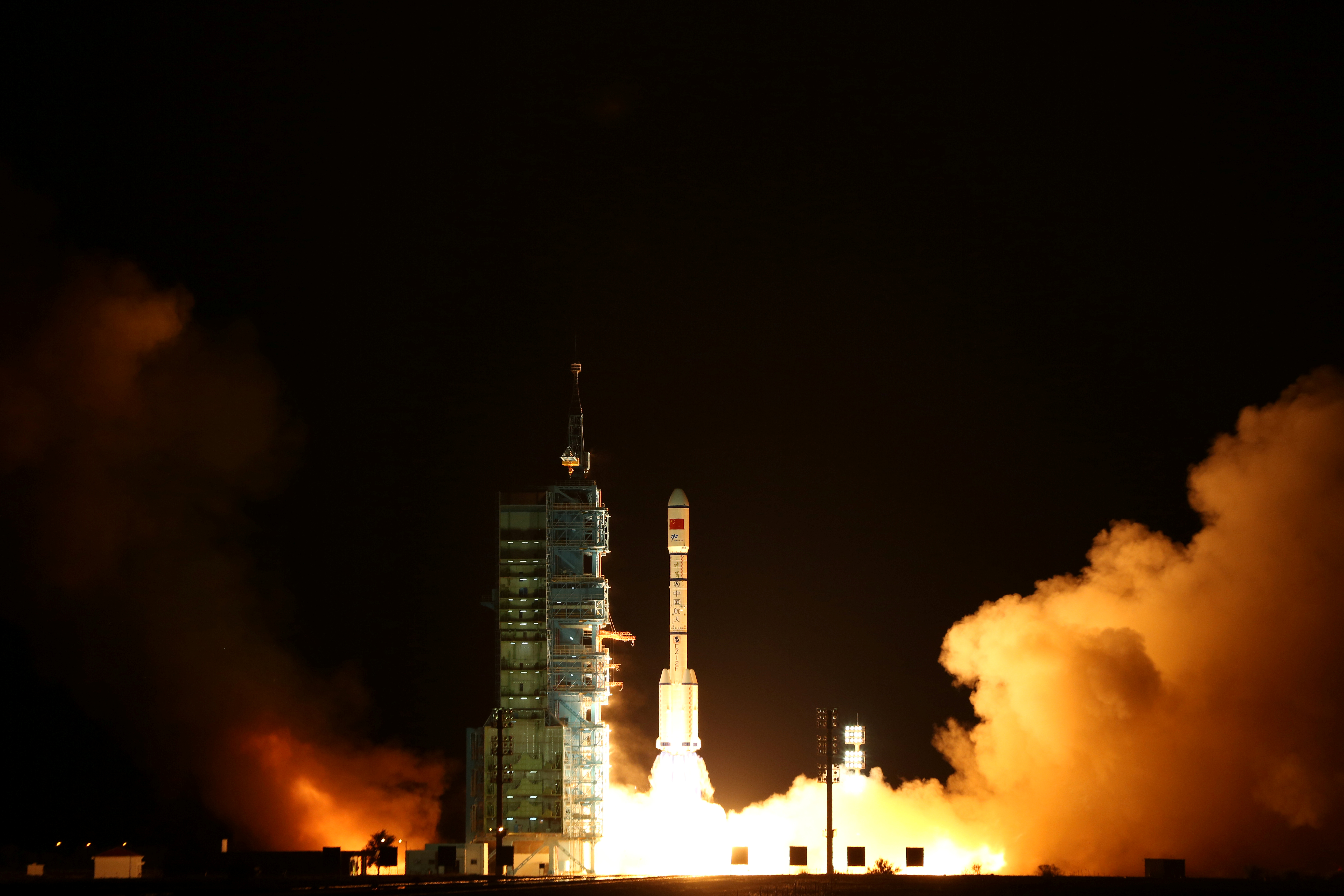 Tiangong-2, China's second space laboratory lifts off from the launch pad in Jiuquan, Gansu province, China, September 15, 2016. Picture taken September 15, 2016. China Daily/ via REUTERS ATTENTION EDITORS - THIS PICTURE WAS PROVIDED BY A THIRD PARTY. EDITORIAL USE ONLY. CHINA OUT. NO COMMERCIAL OR EDITORIAL SALES IN CHINA.     TPX IMAGES OF THE DAY      - S1BEUBOEQWAA